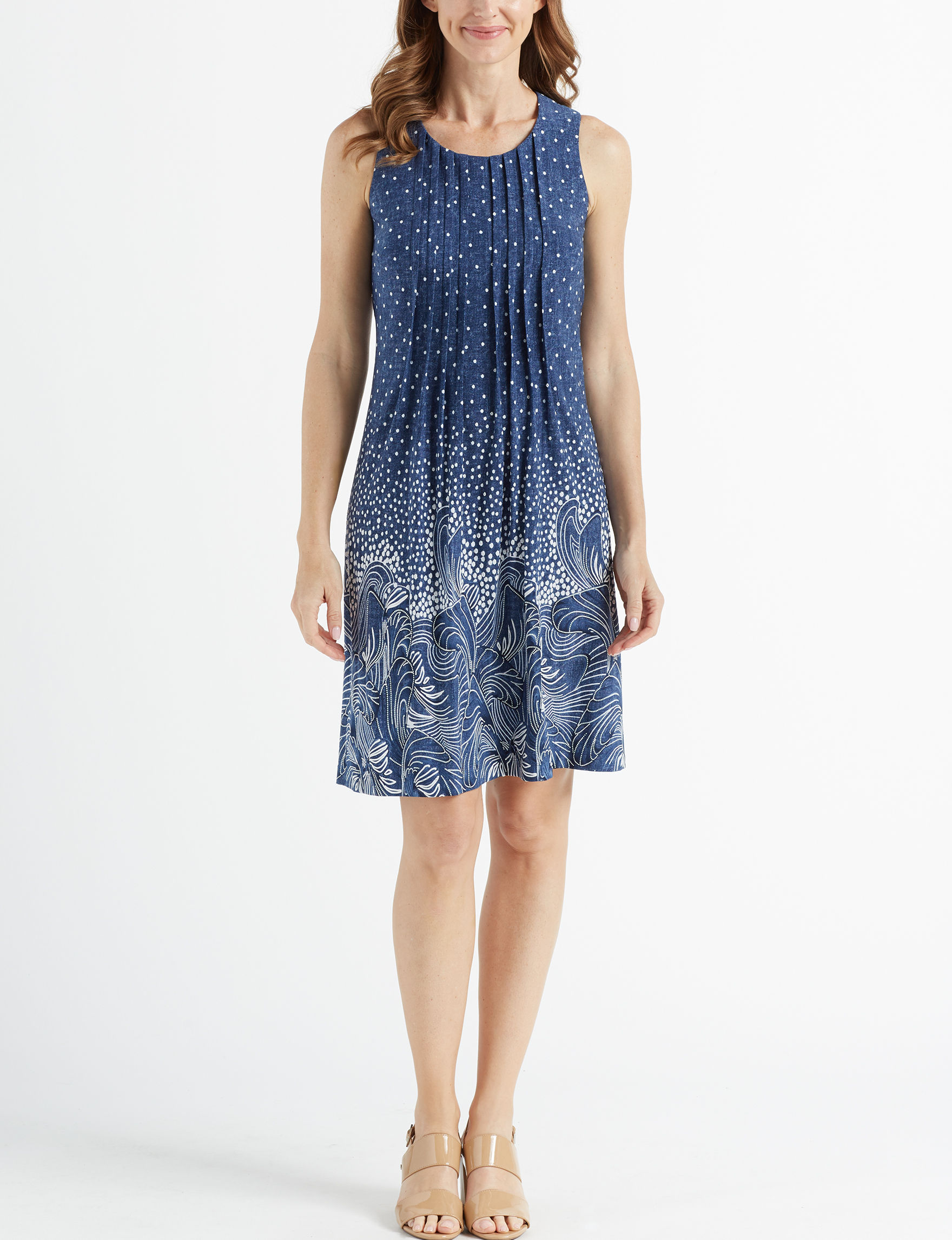 Perceptions Blue / White Everyday & Casual Shift Dresses