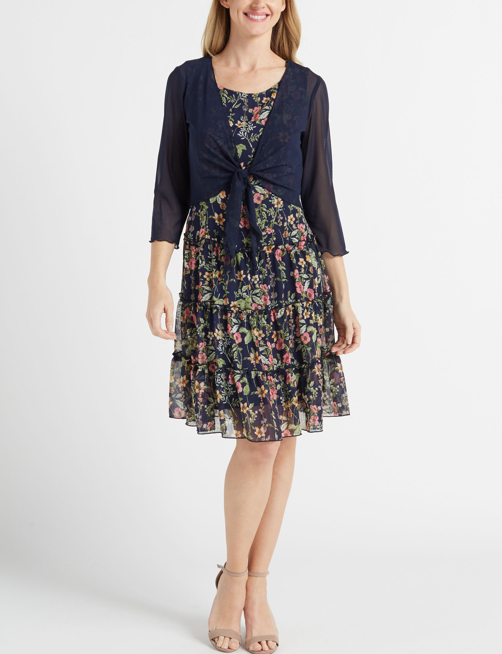 Connected Navy Multi Everyday & Casual Jacket Dresses