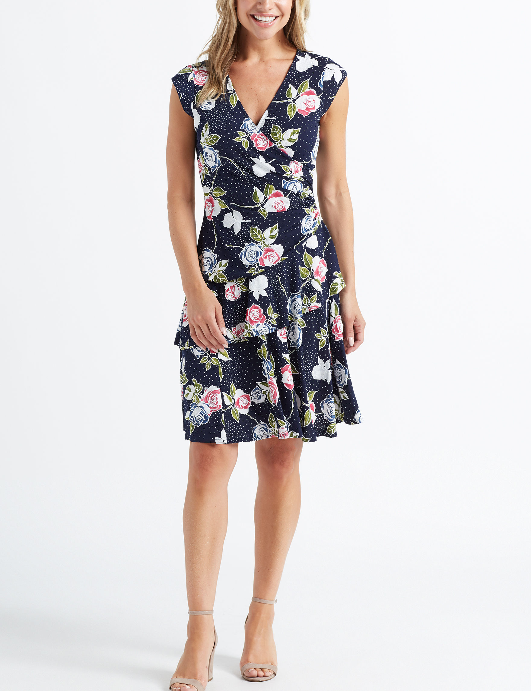 Robbie Bee Navy Floral Everyday & Casual A-line Dresses