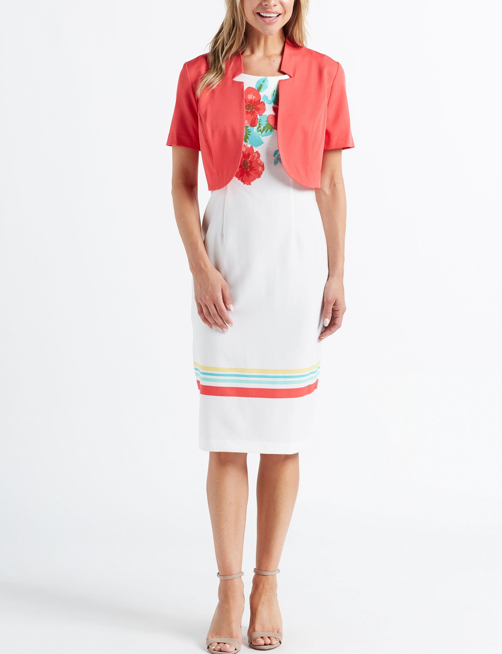 Maya Brooke Pink / White Everyday & Casual Jacket Dresses