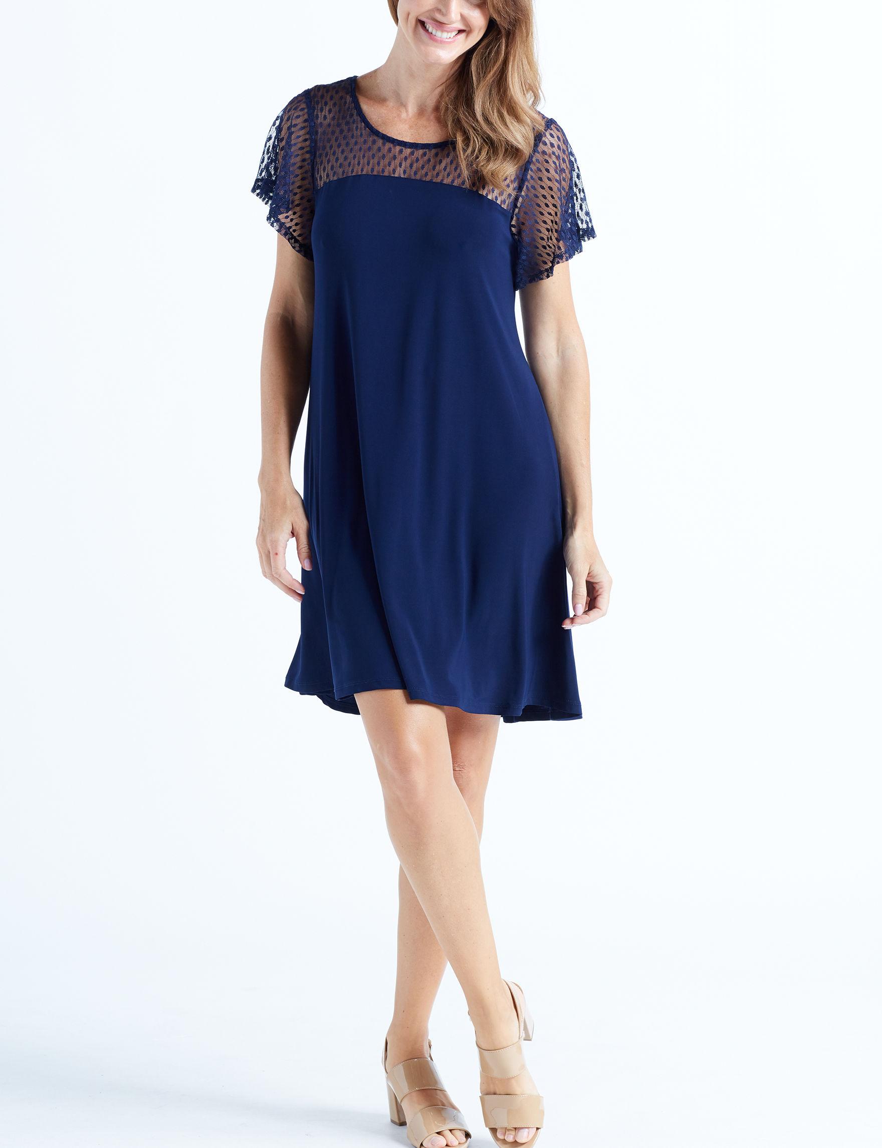 Nina Leonard Navy Everyday & Casual Sheath Dresses