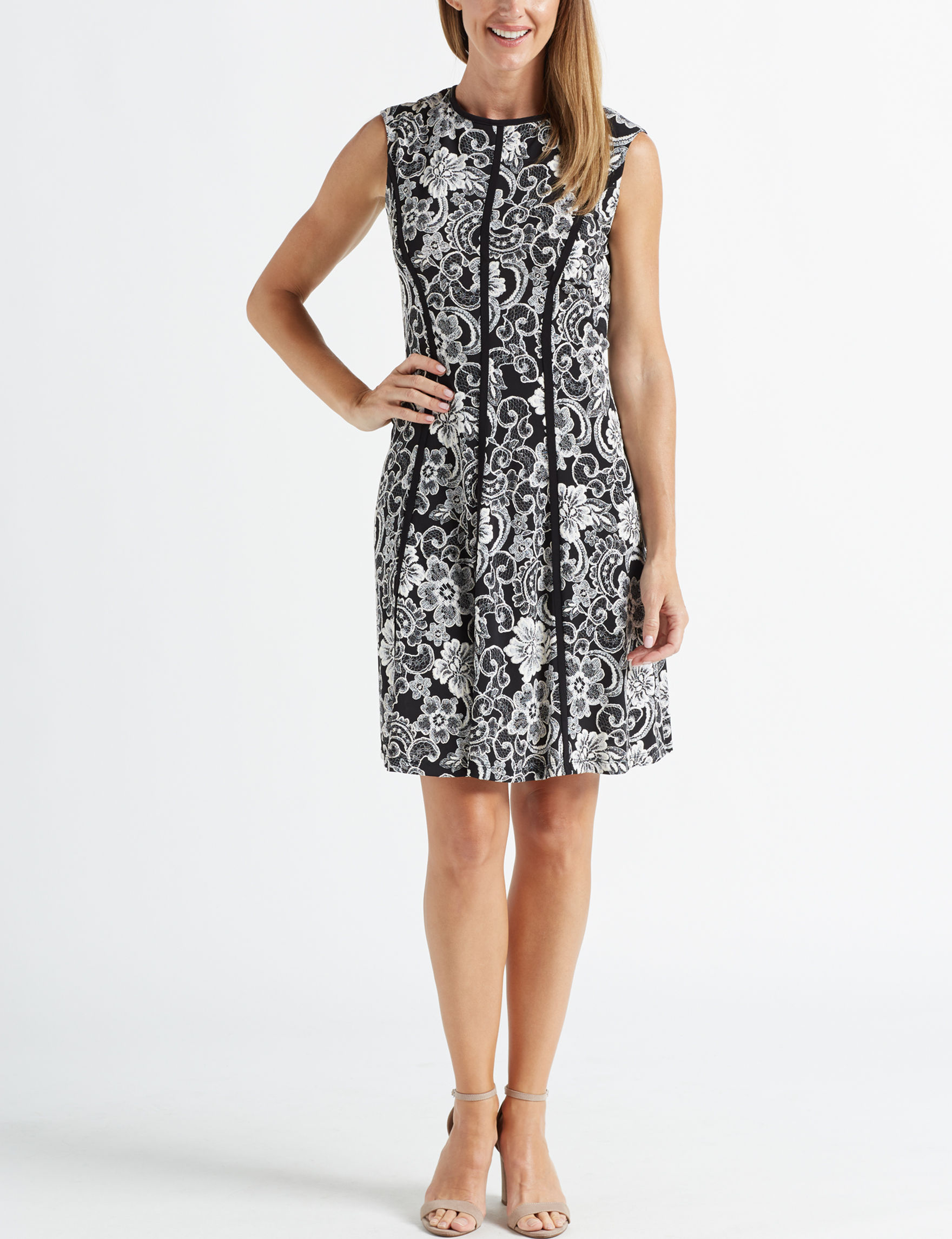 Sandra Darren Black / White Everyday & Casual A-line Dresses