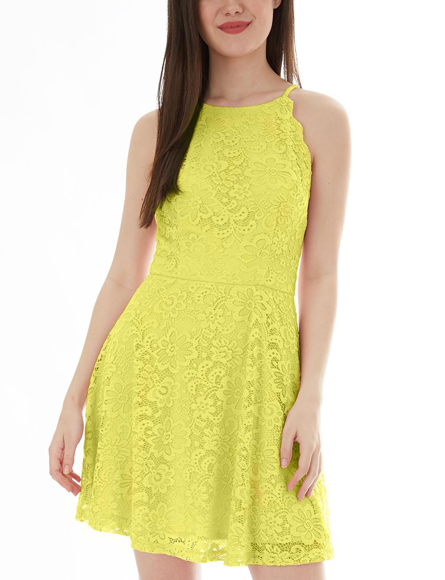 A. Byer Neon Yellow Everyday & Casual Halter Sheath Dresses