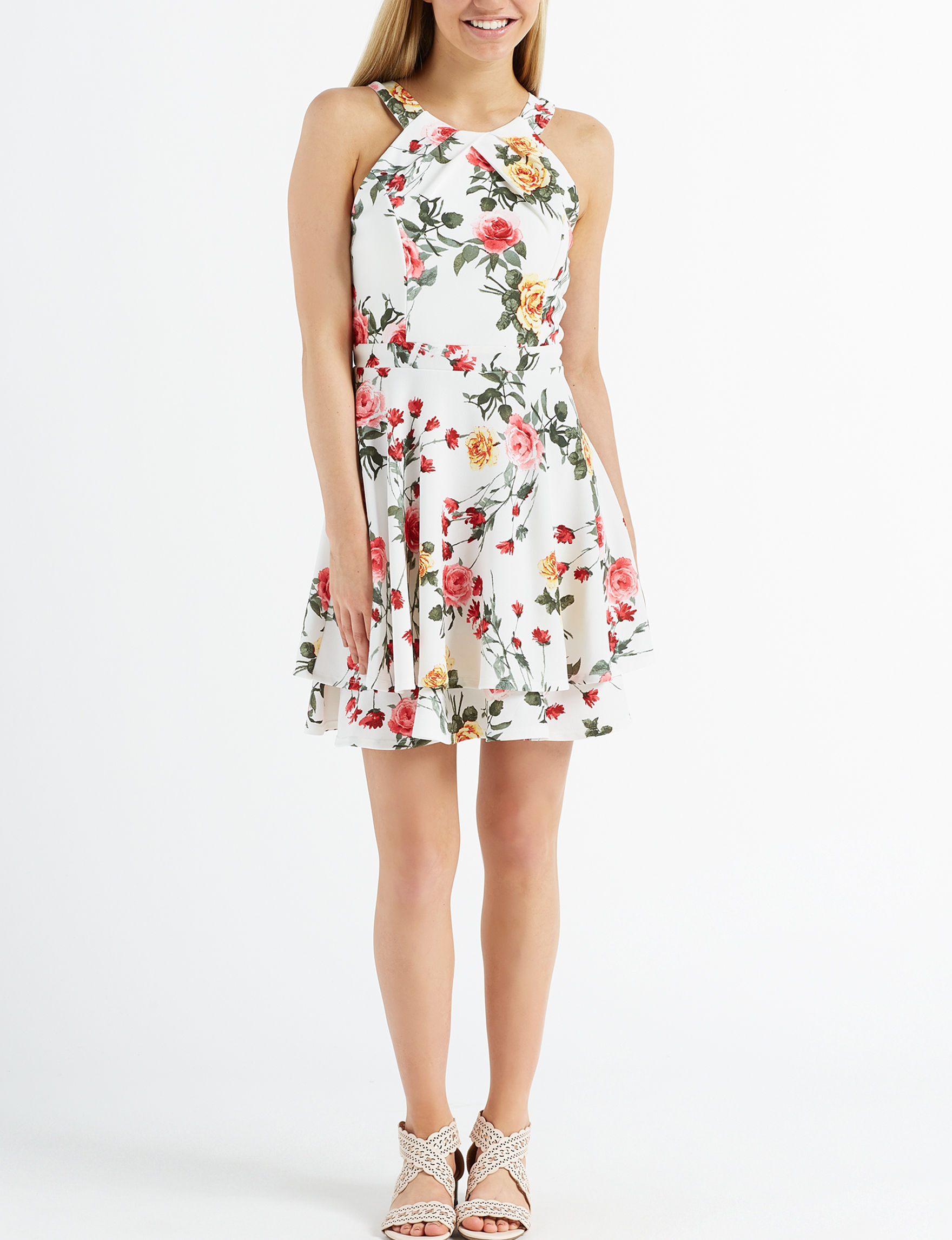 Emerald Sundae White Floral Cocktail & Party Fit & Flare Dresses Halter