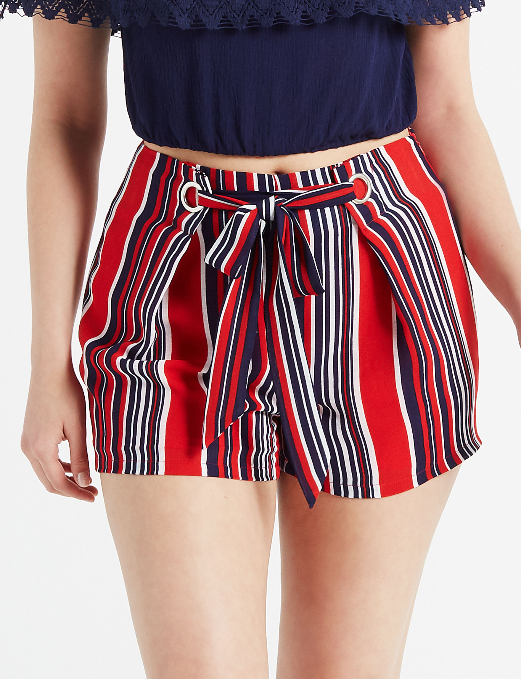 Charmed Hearts Red / Navy Soft Shorts