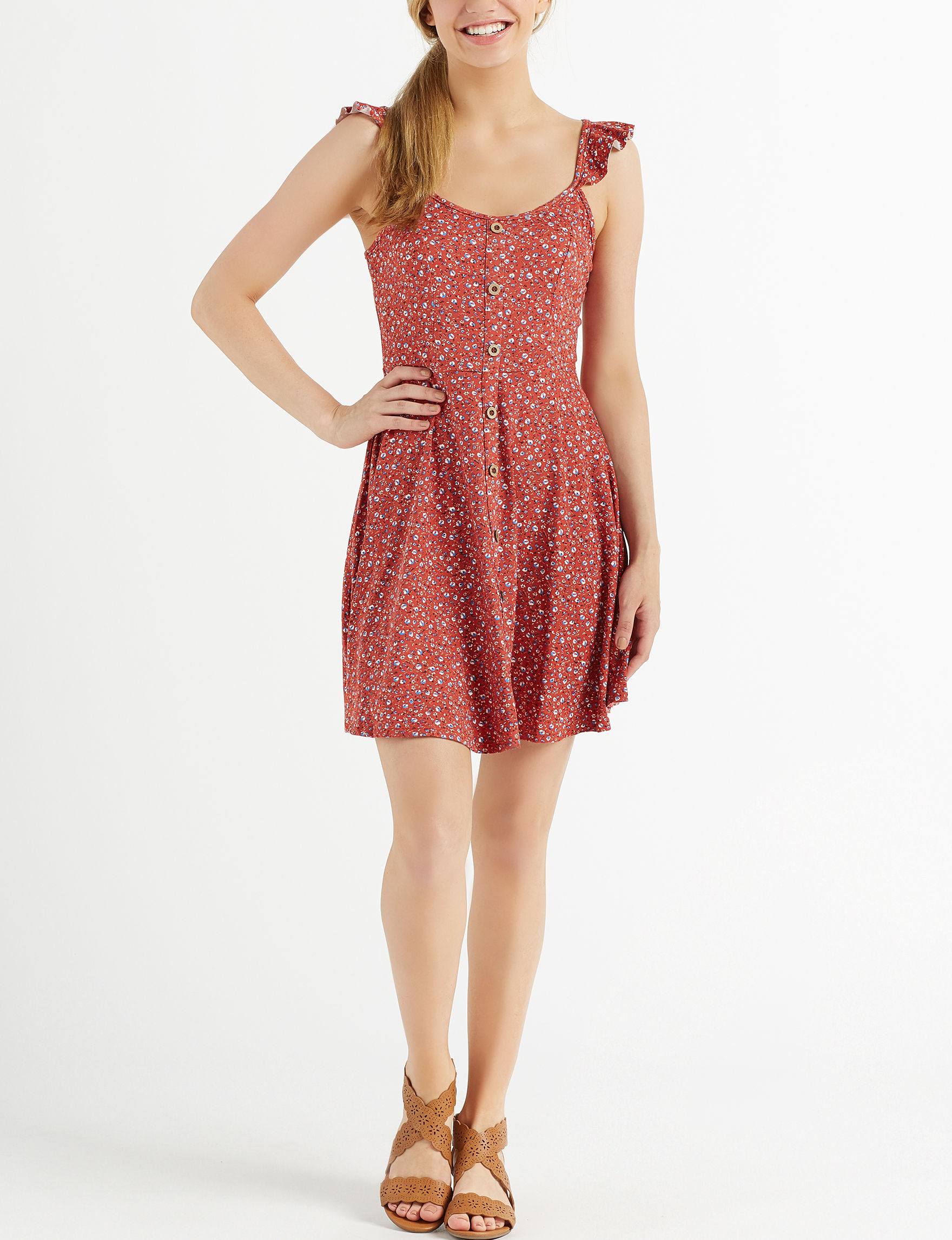 Sequin Hearts Rust Everyday & Casual Fit & Flare Dresses