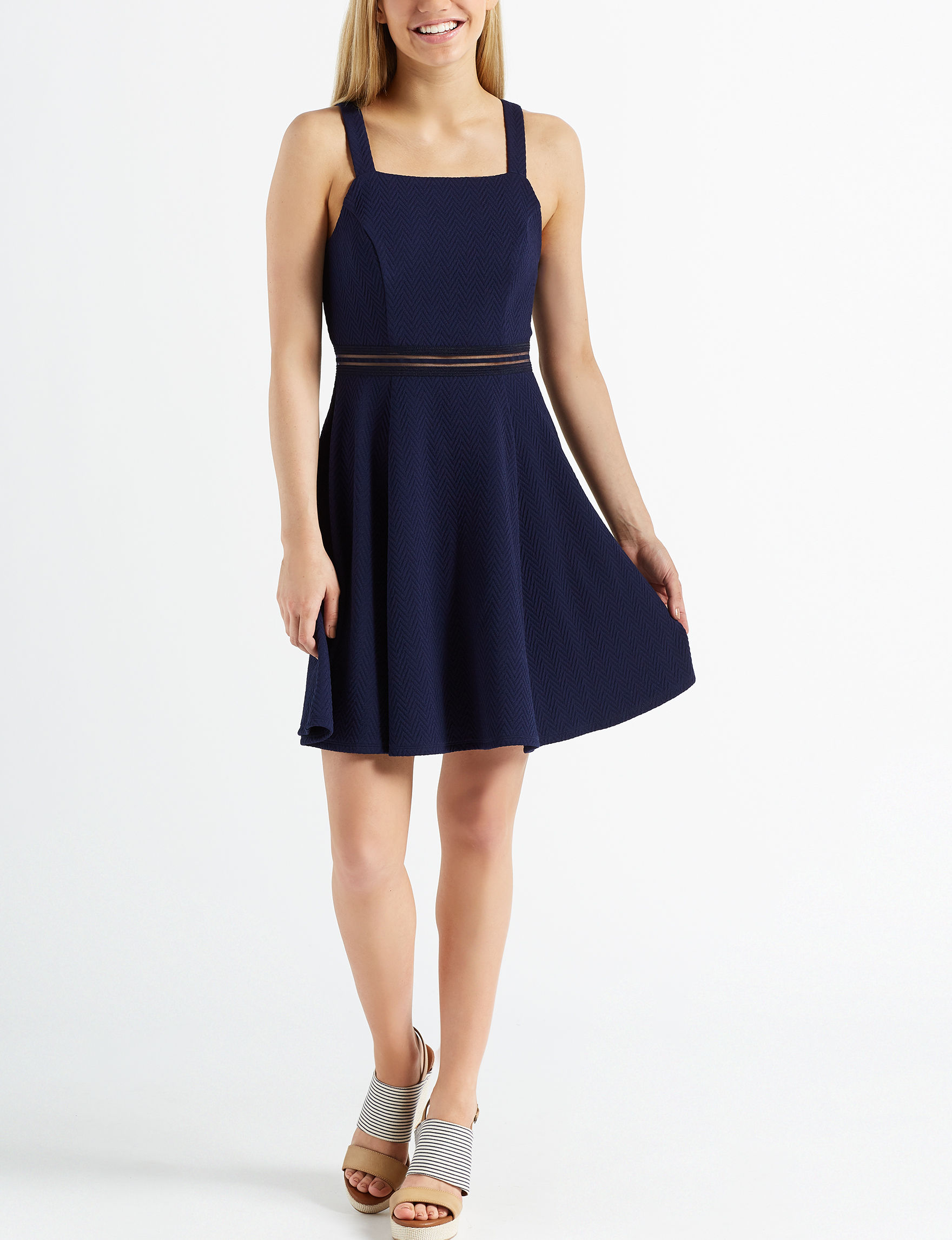 Sequin Hearts Navy Everyday & Casual Fit & Flare Dresses