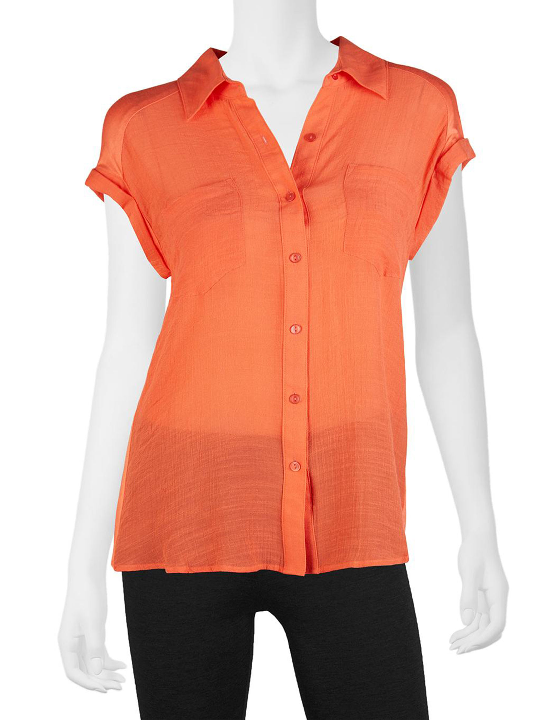 A. Byer Bright Orange Shirts & Blouses