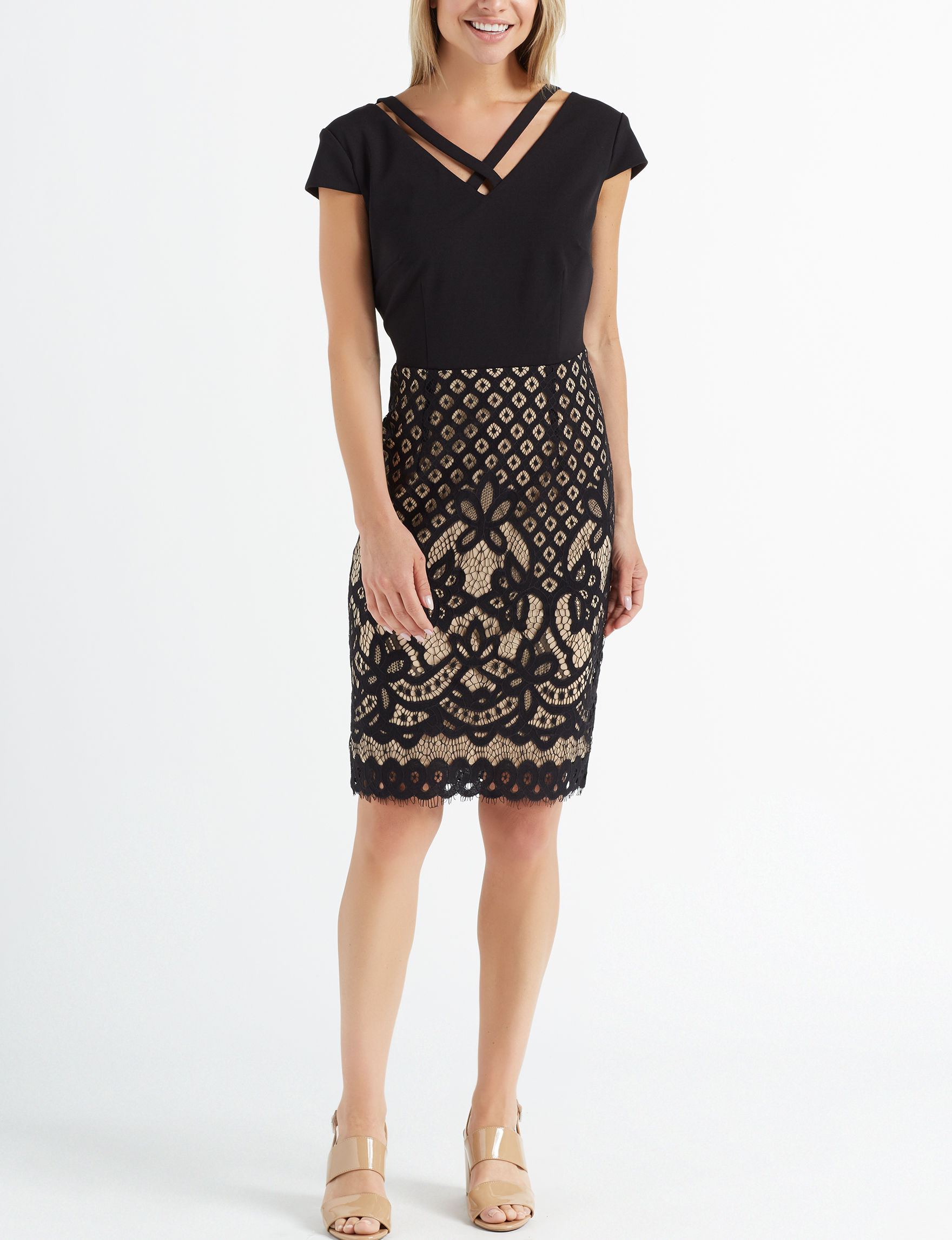 Connected Black / Beige Everyday & Casual Sheath Dresses