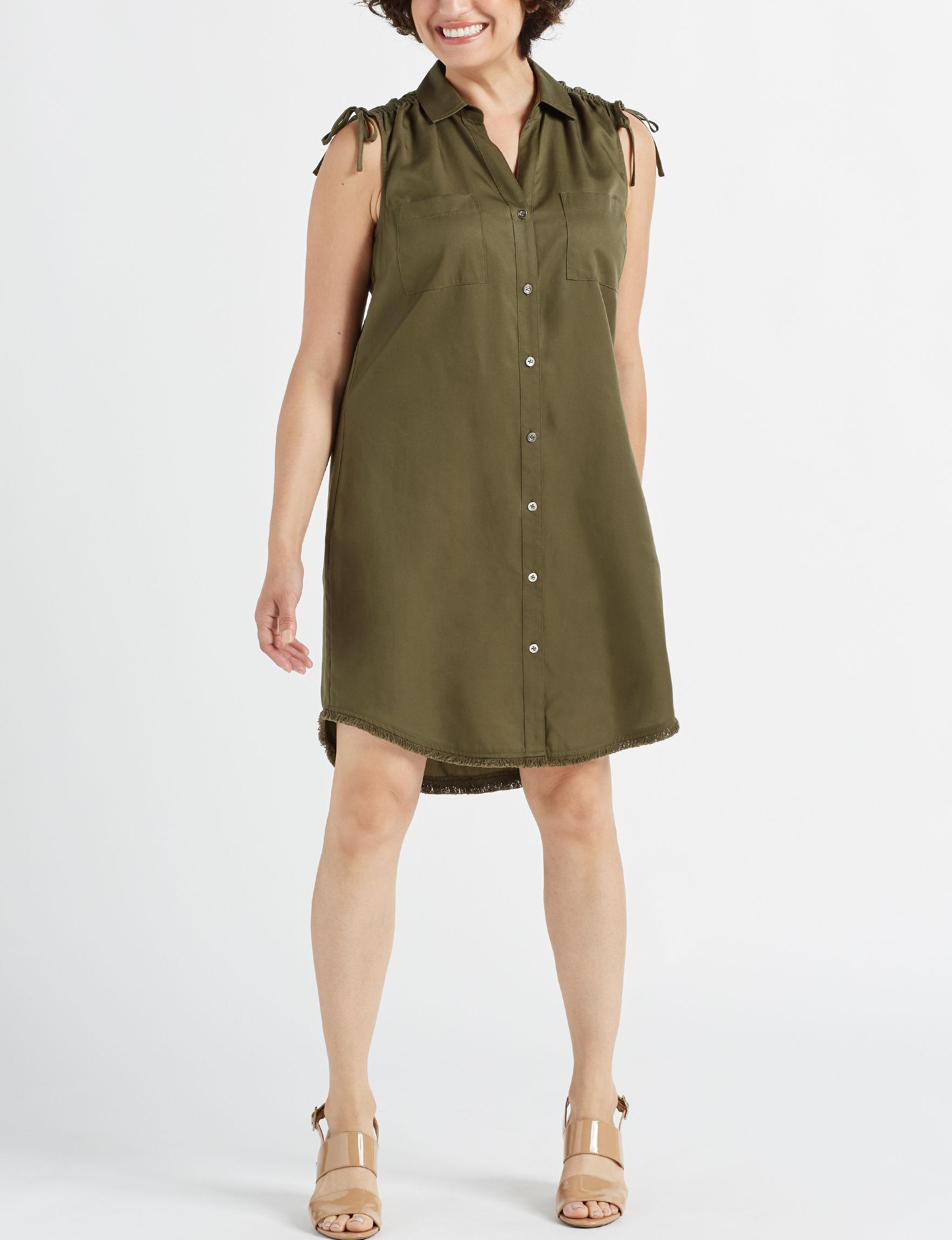 Sharagano Olive Everyday & Casual Shirt Dresses