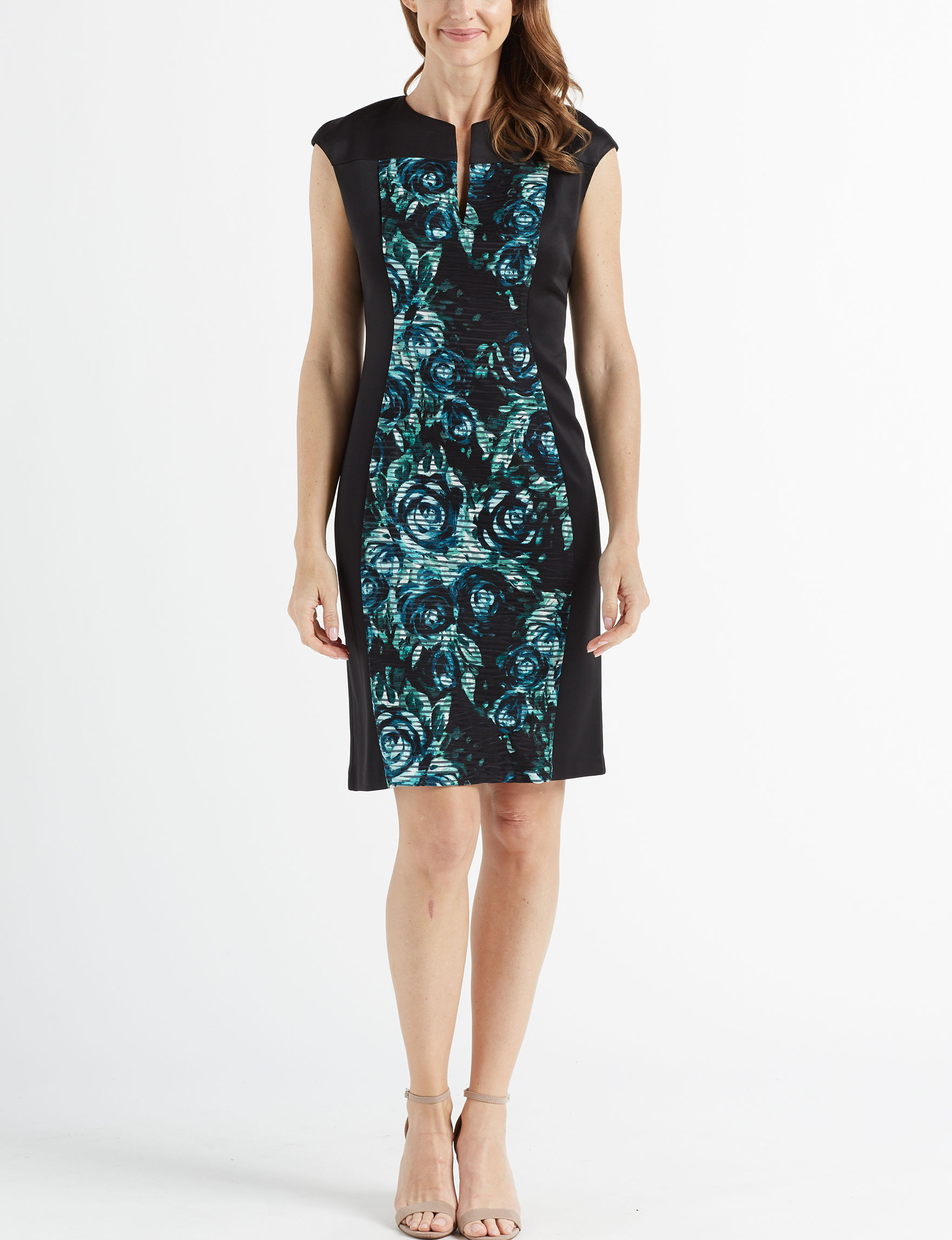 Connected Black / Turquoise Everyday & Casual Sheath Dresses