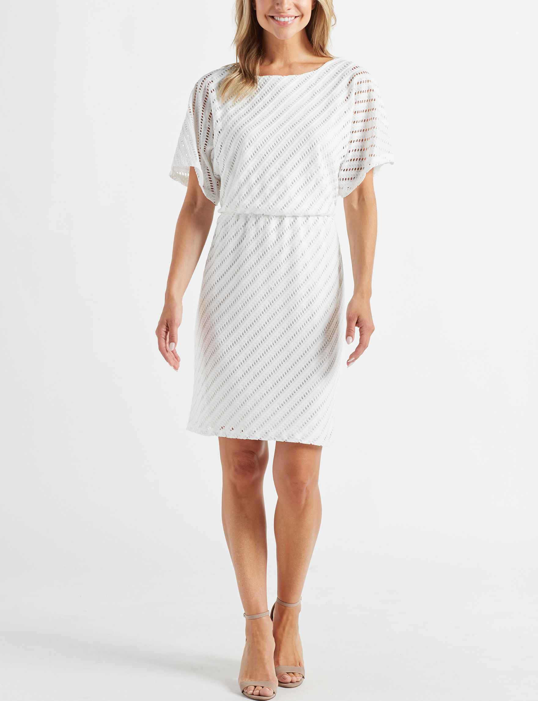 London Times Ivory Everyday & Casual Fit & Flare Dresses