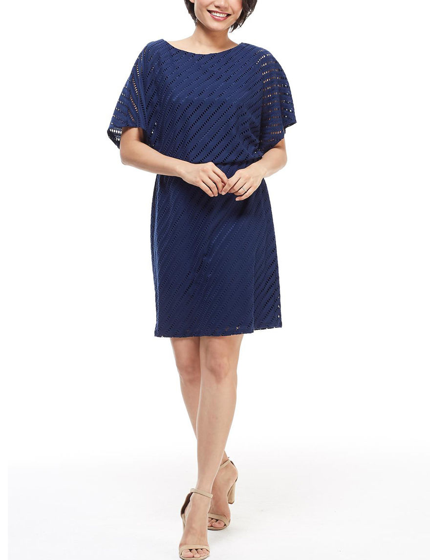 London Times Navy Everyday & Casual Fit & Flare Dresses