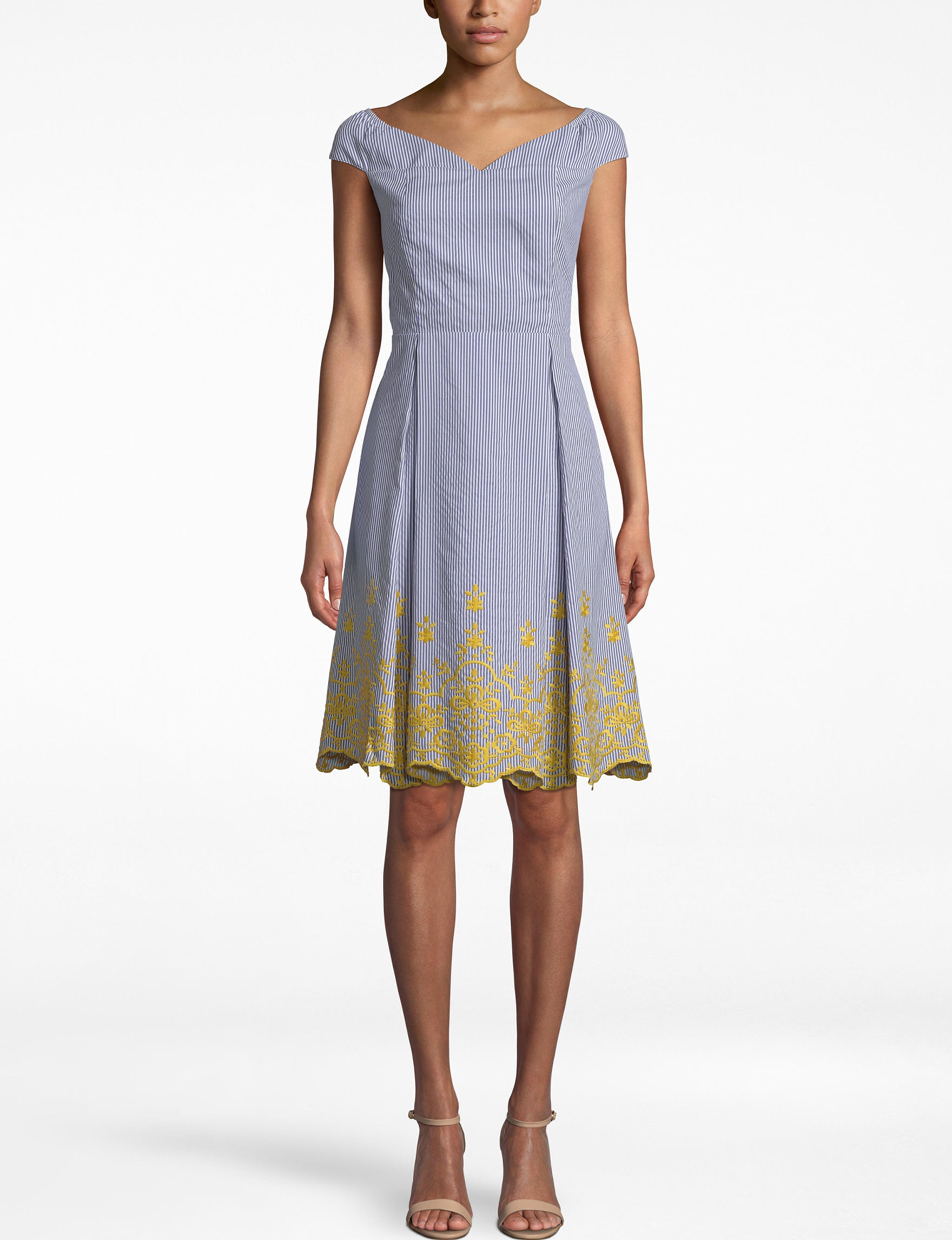 Nicole Miller Blue / Yellow Everyday & Casual A-line Dresses
