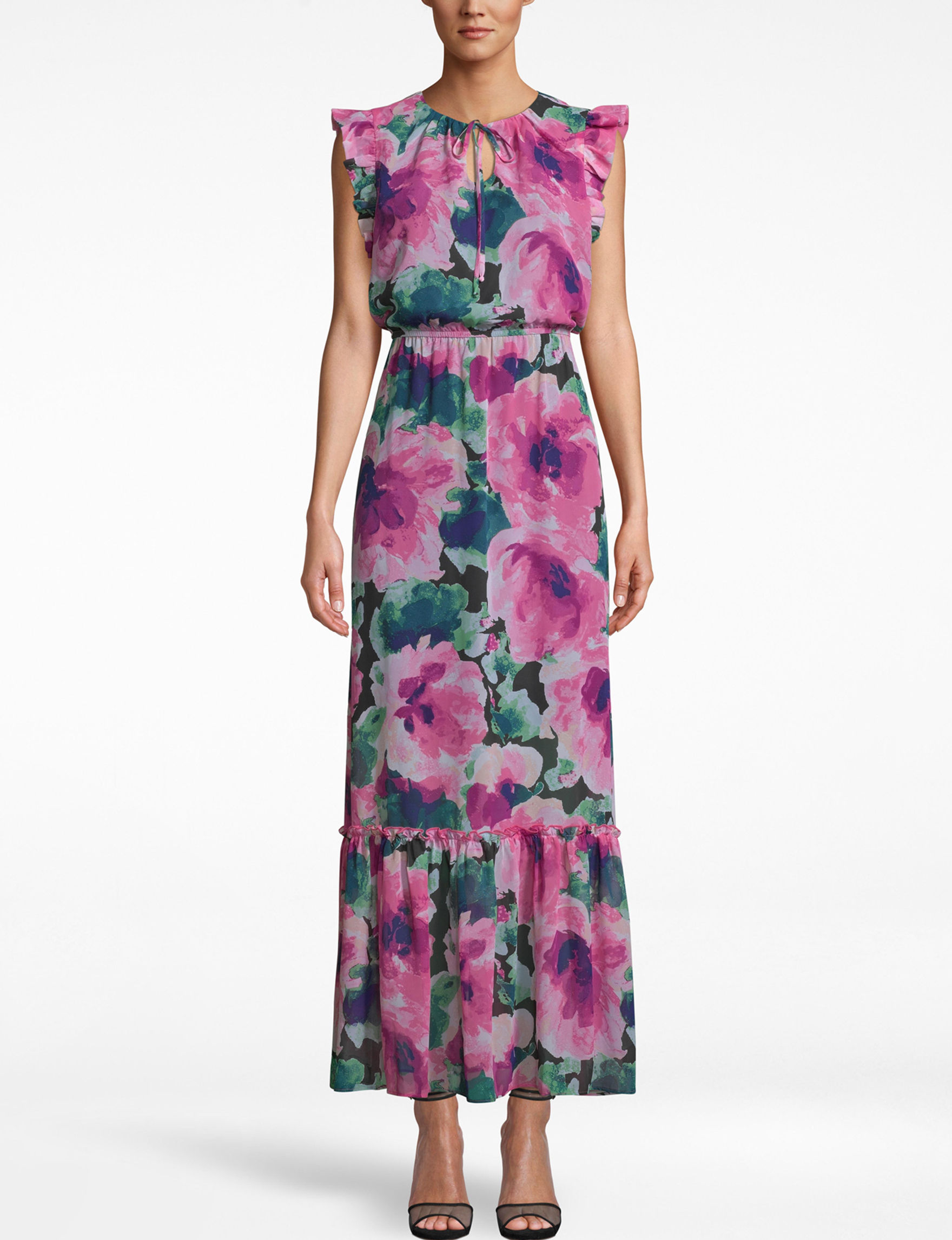Nicole Miller Pink Multi Everyday & Casual Maxi Dresses