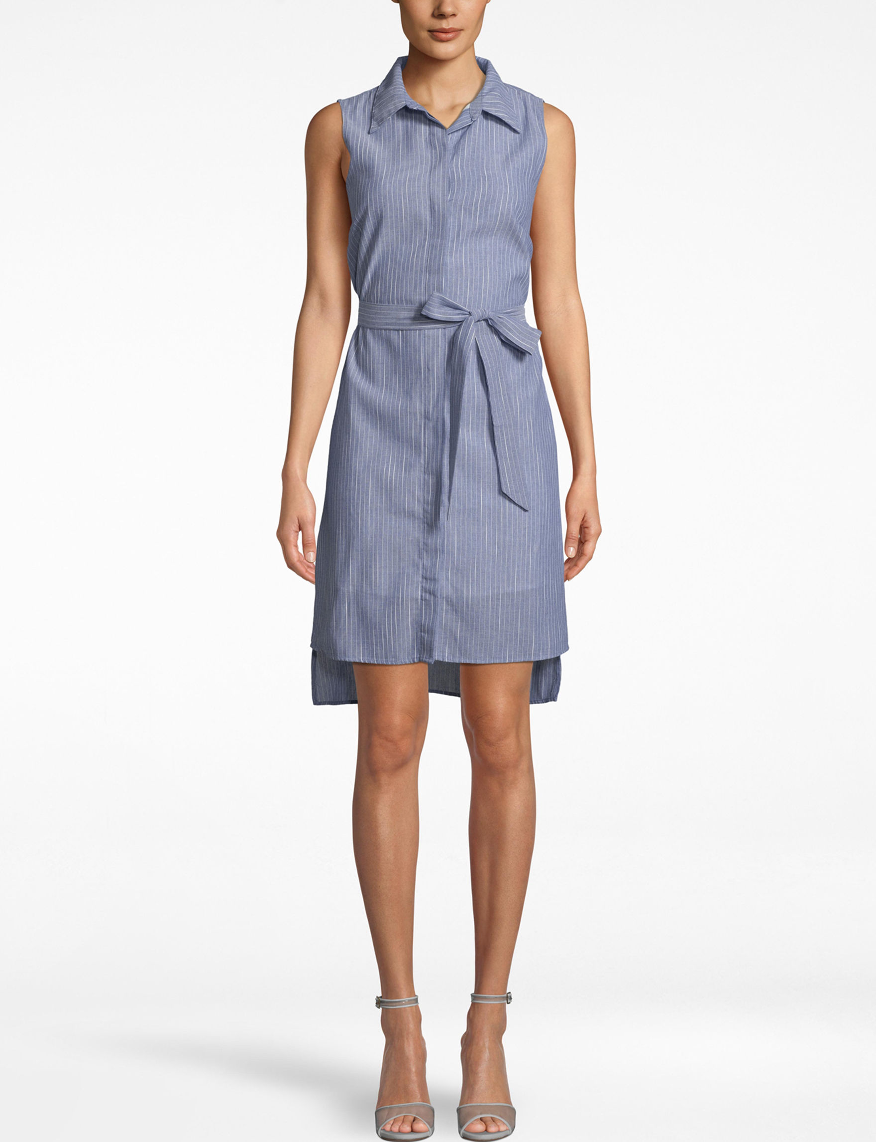 Nicole Miller Blue / White Everyday & Casual Shirt Dresses