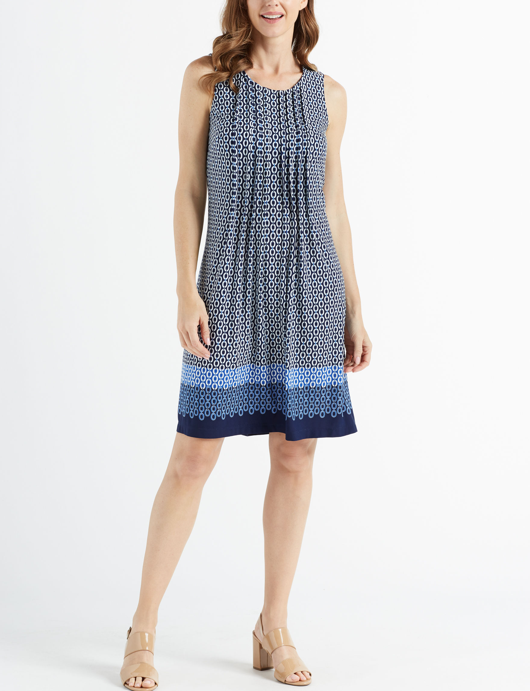 Perceptions Navy / White Everyday & Casual Shift Dresses