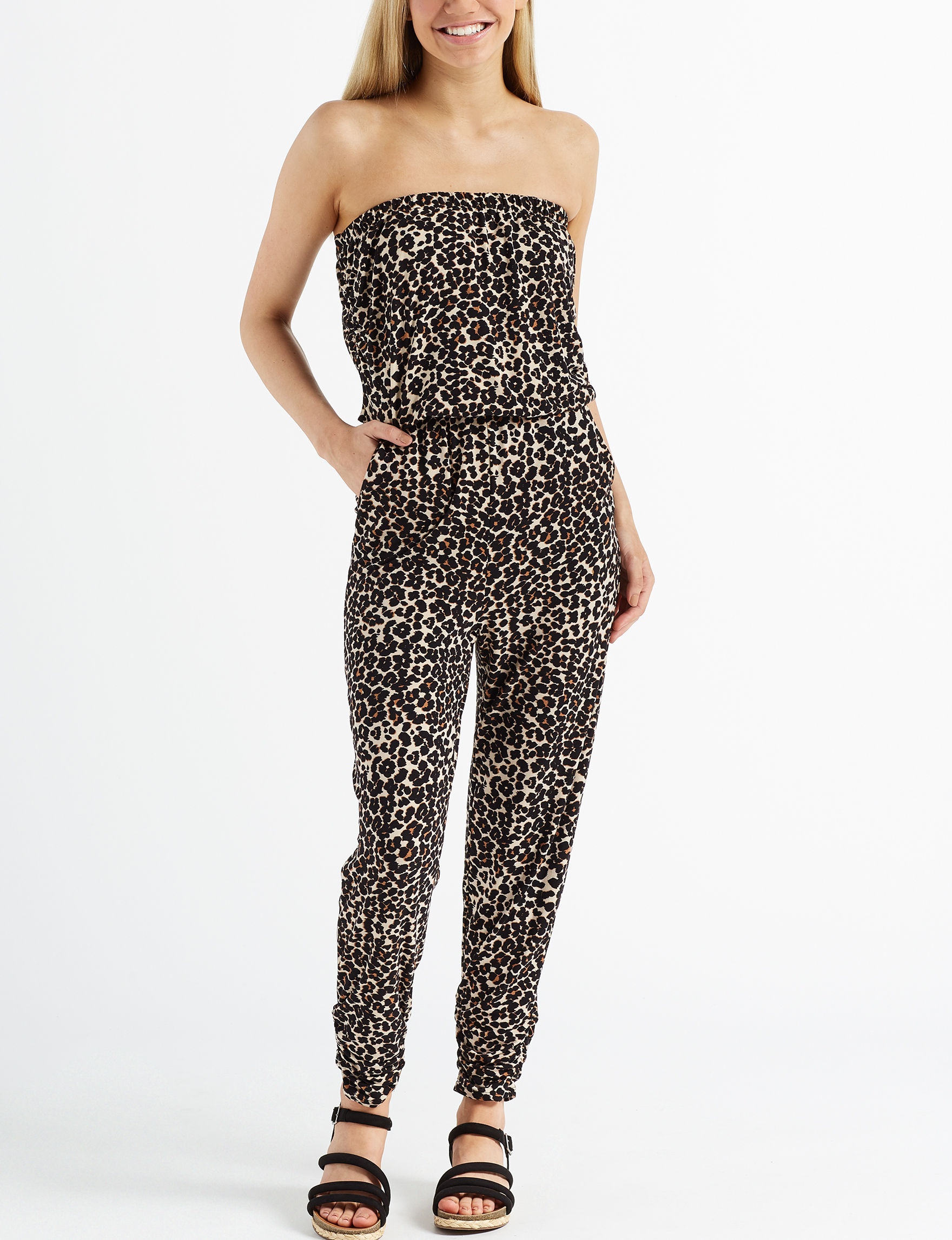 Almost Famous Leopard Cocktail & Party Everyday & Casual Strapless