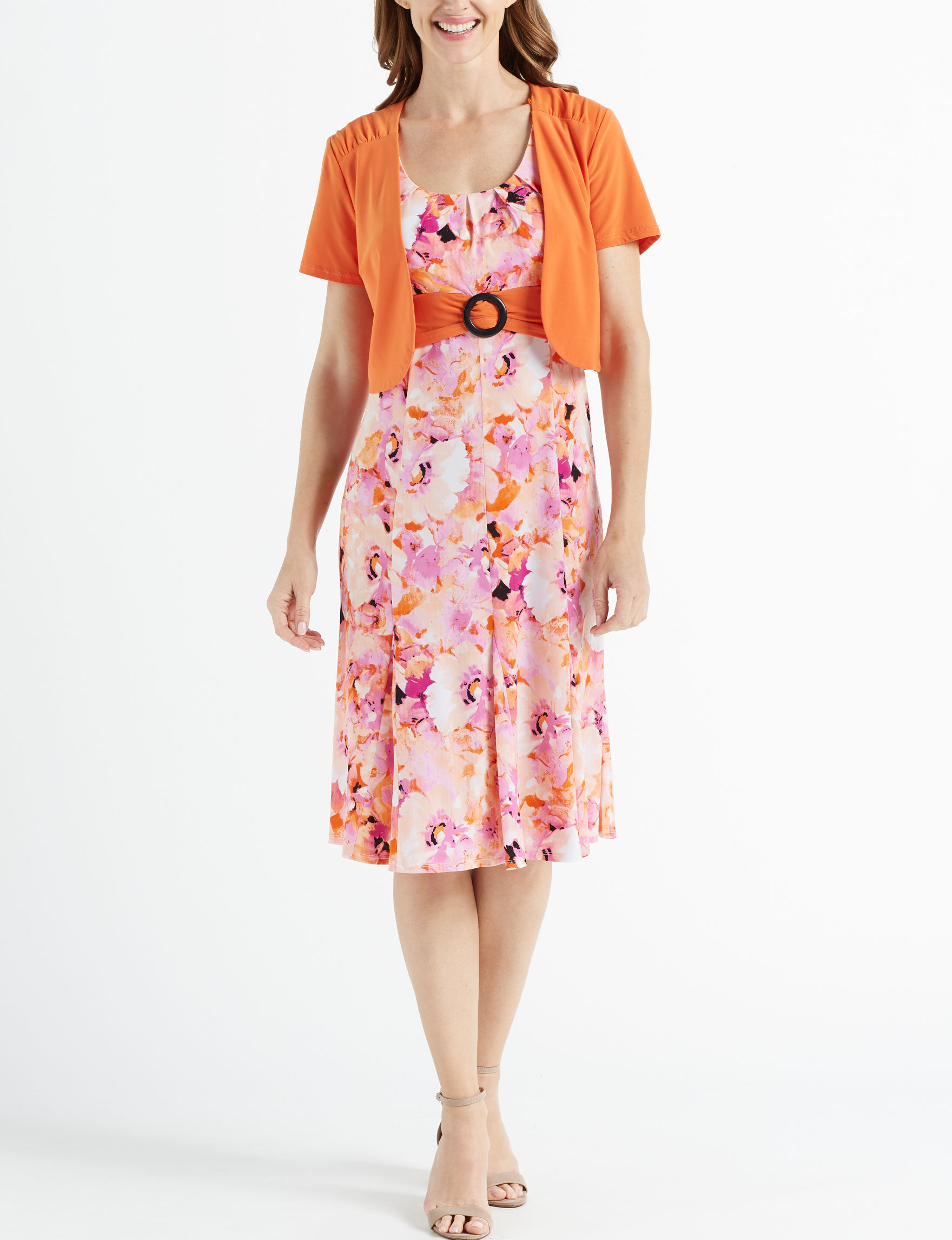 Perceptions Coral Multi Everyday & Casual A-line Dresses Jacket Dresses