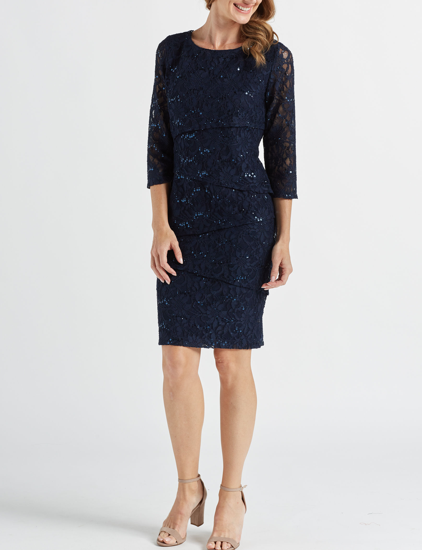 Ronni Nicole Navy Cocktail & Party Evening & Formal Sheath Dresses