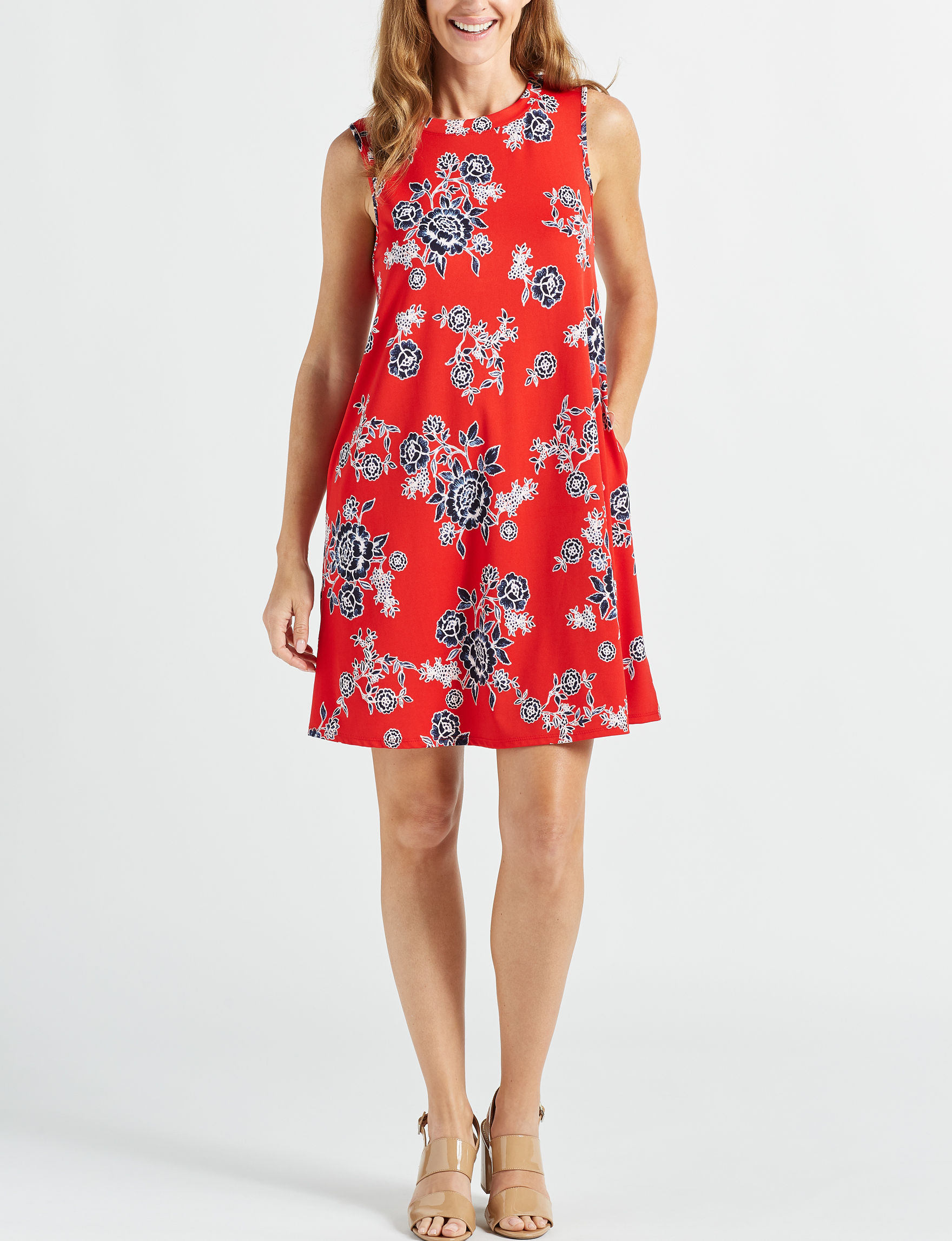 AGB Red Floral Everyday & Casual Shift Dresses