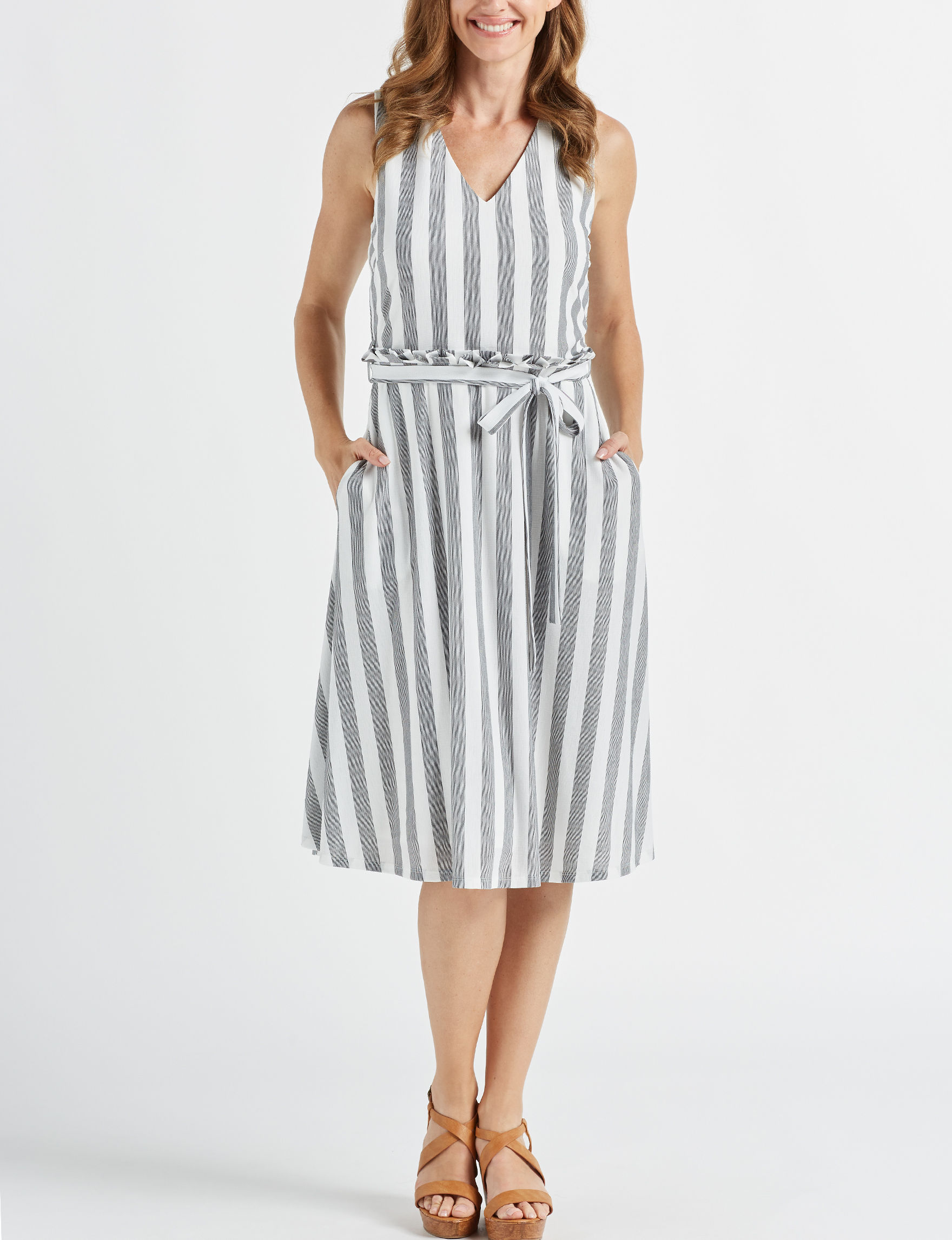 Beige by ECI White Stripe Everyday & Casual A-line Dresses