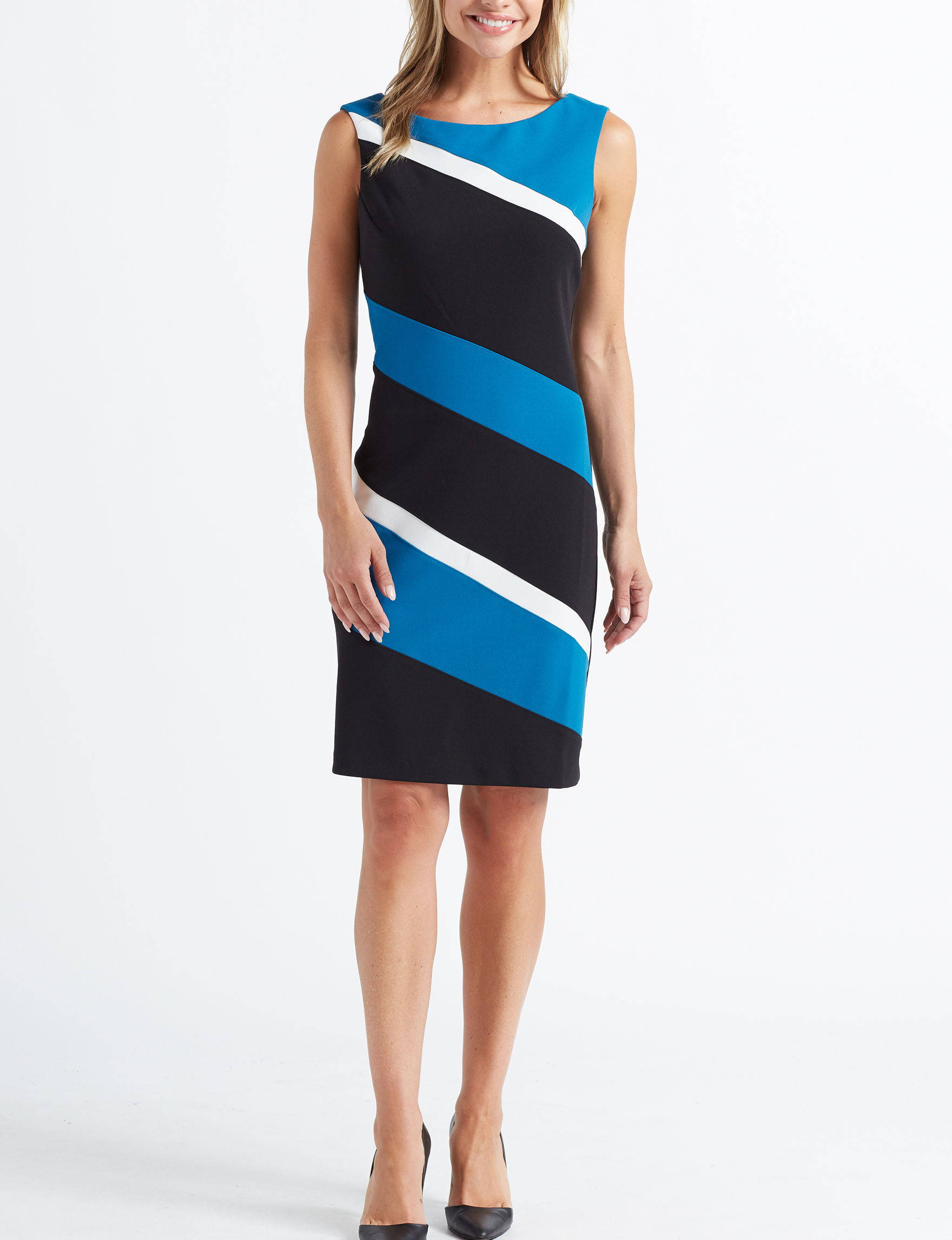 Connected Blue / White / Black Everyday & Casual Sheath Dresses