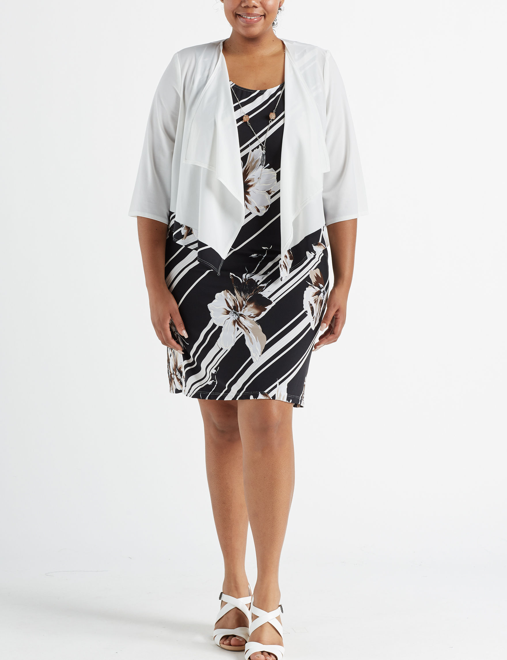R & M Richards White Stripe Everyday & Casual Jacket Dresses