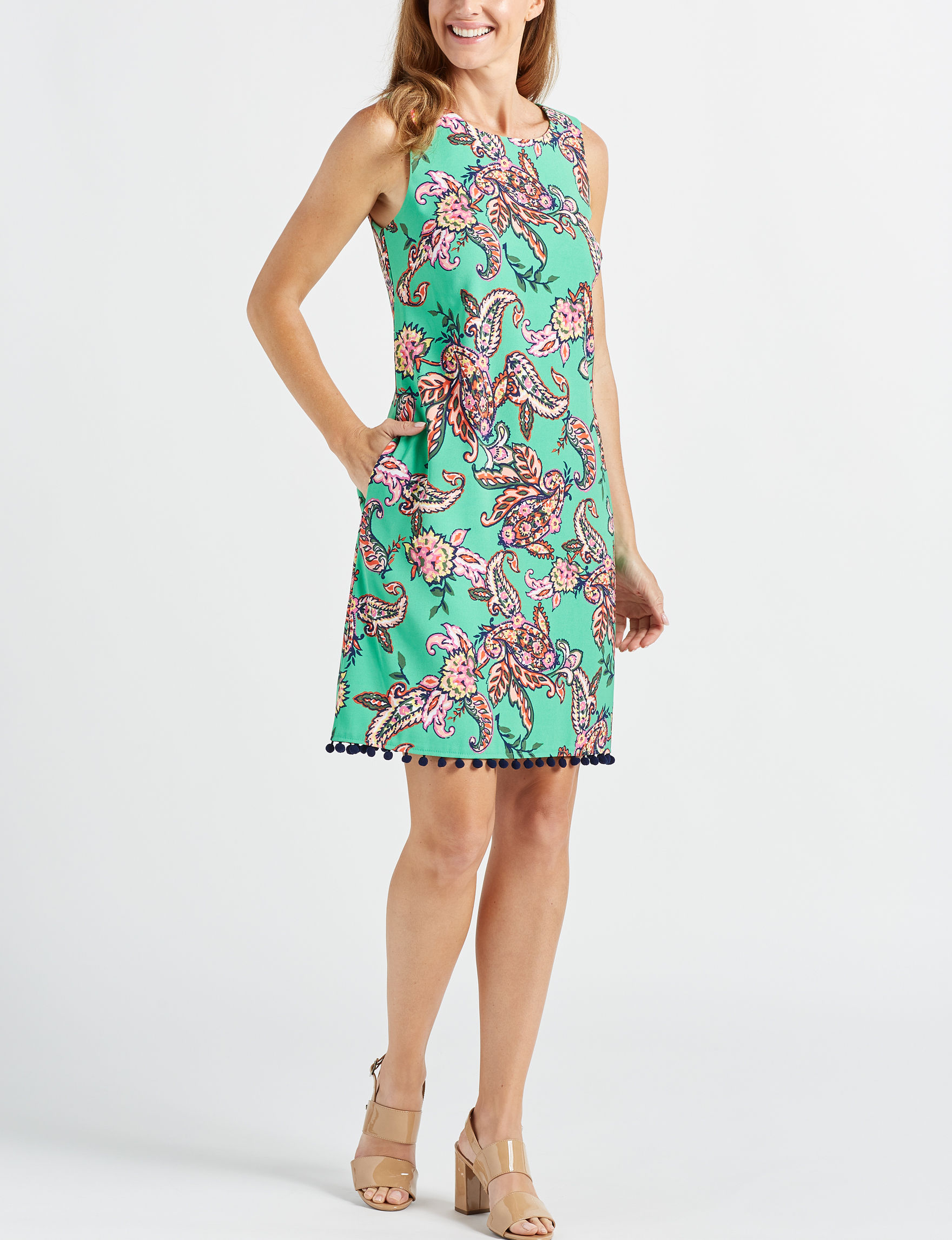 AGB Green Multi Everyday & Casual Sheath Dresses