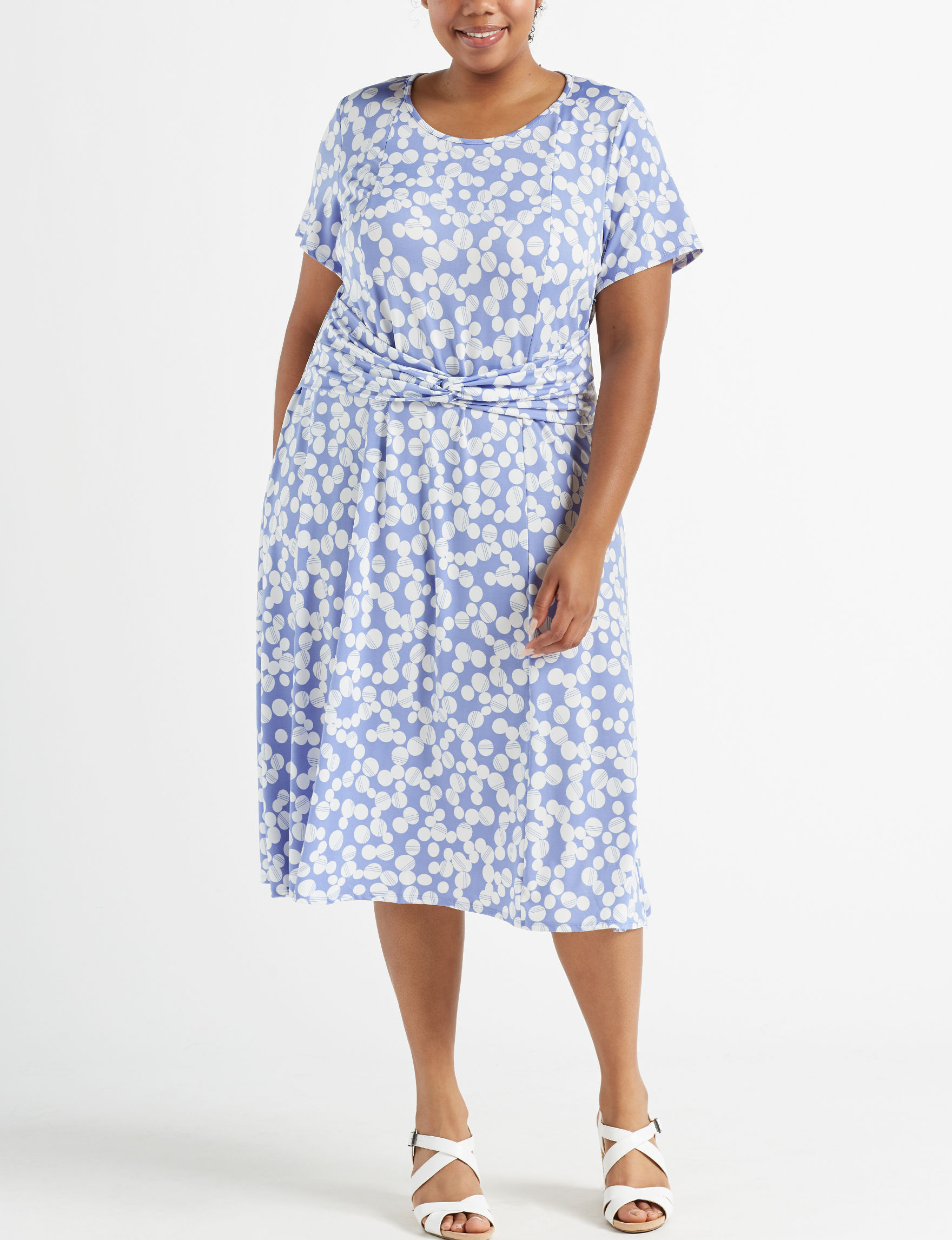 Perceptions Plus Size Polka Dot Midi A-line Dress | Stage Stores