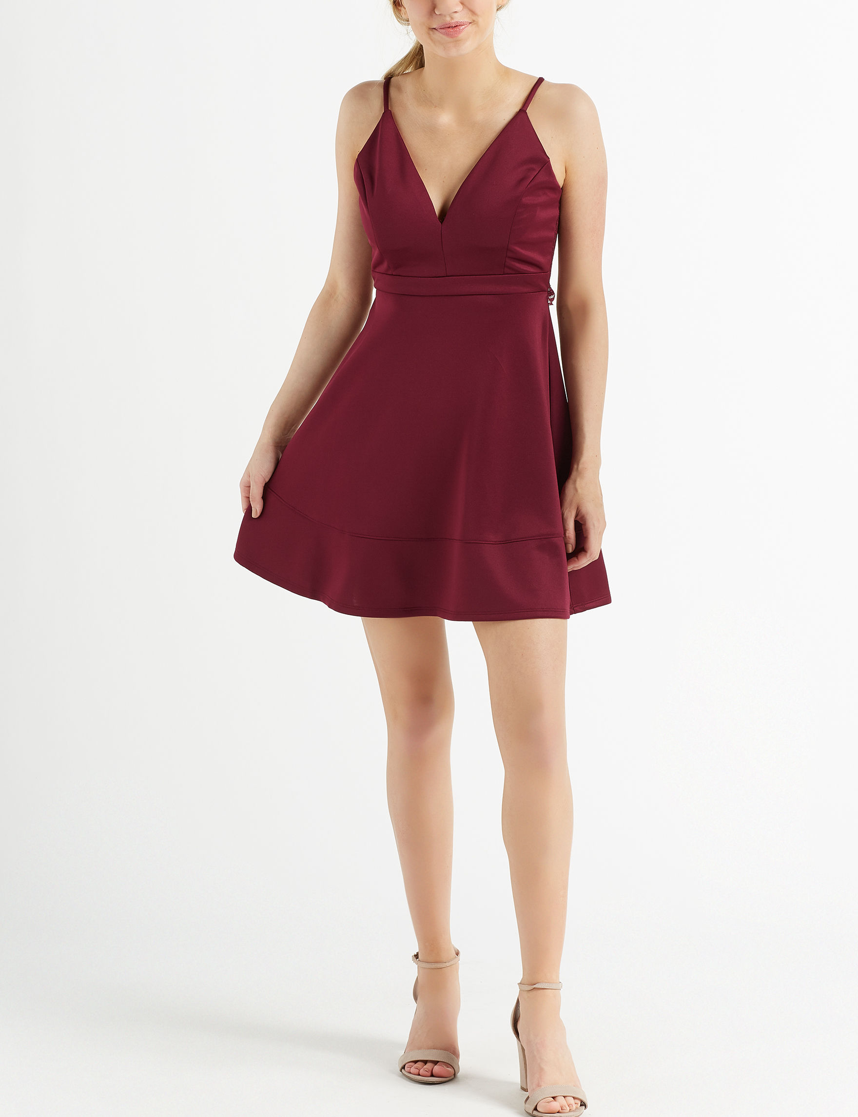 Emerald Sundae Burgundy Cocktail & Party Fit & Flare Dresses