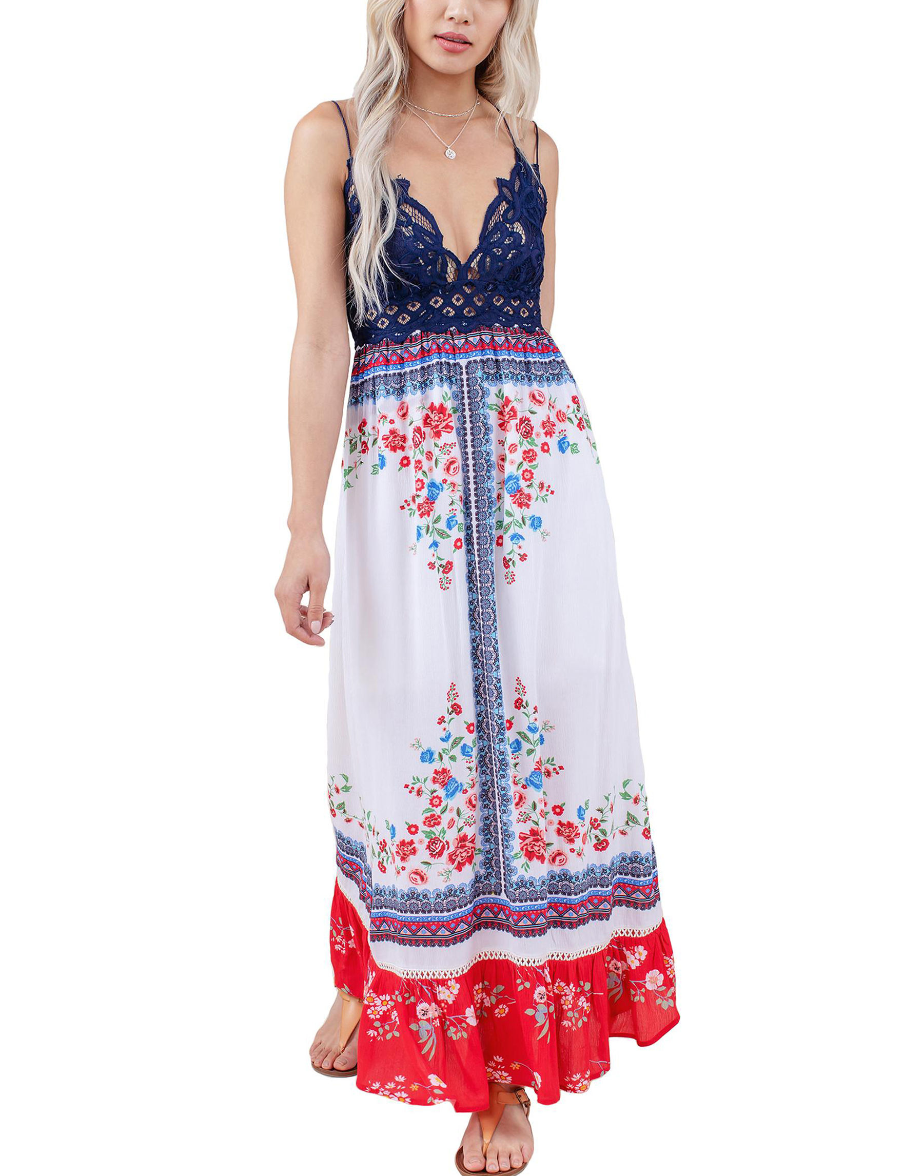 C + J Collections White / Red Everyday & Casual Maxi Dresses