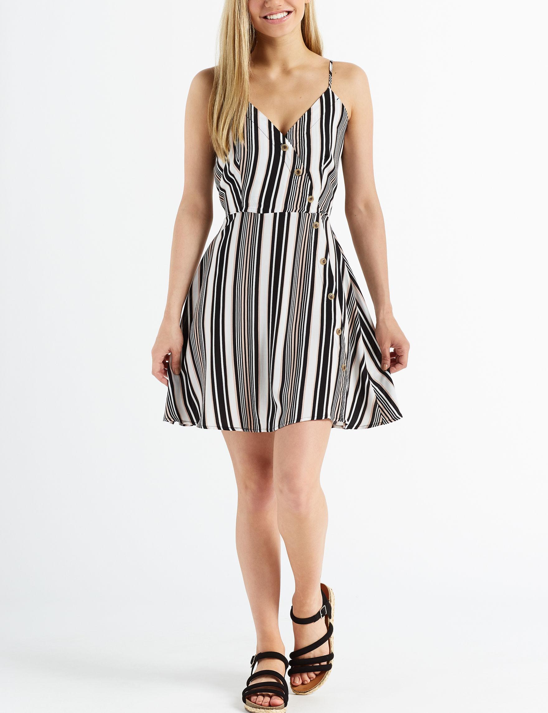 Wishful Park Black Stripe Fit & Flare Dresses