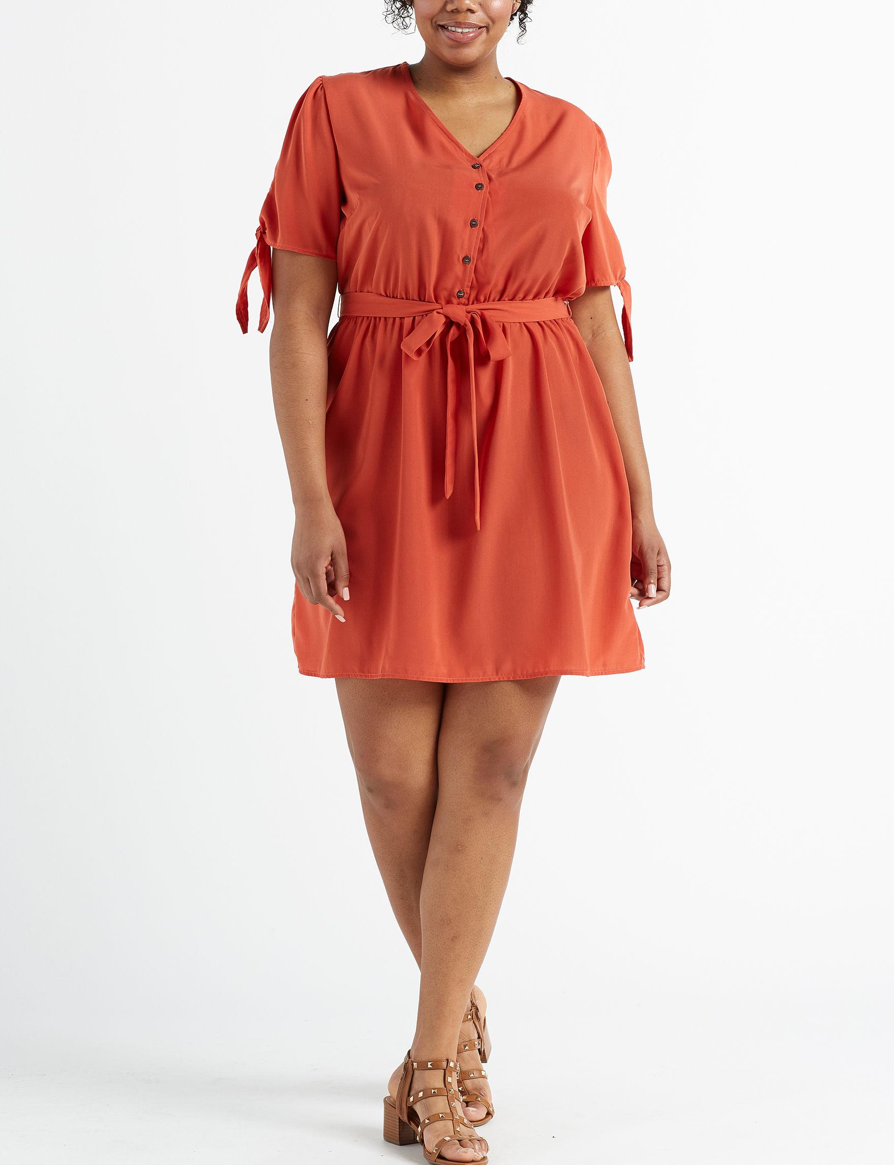 Wishful Park Red Orange Everyday & Casual Shirt Dresses