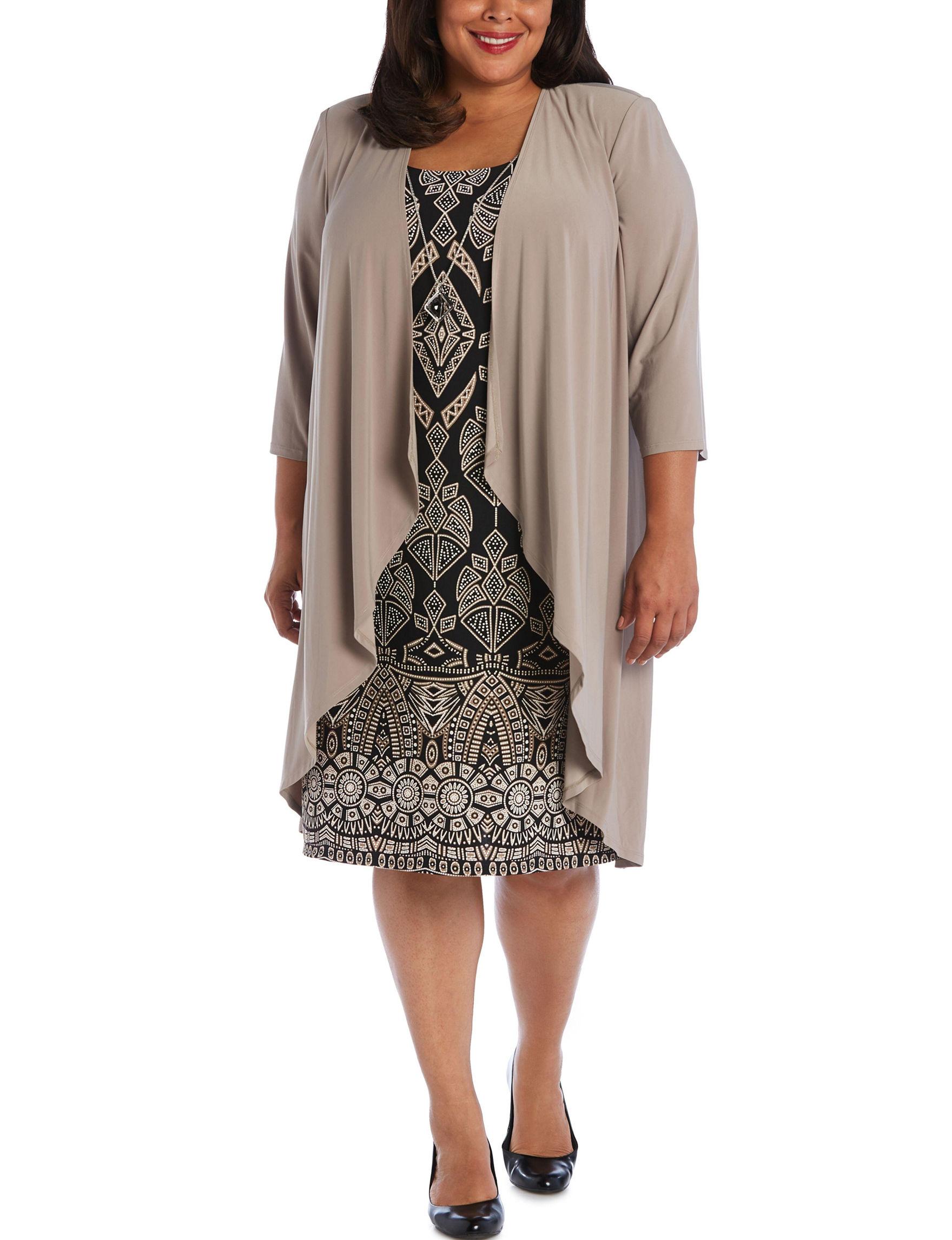 R & M Richards Black / Taupe Evening & Formal Jacket Dresses