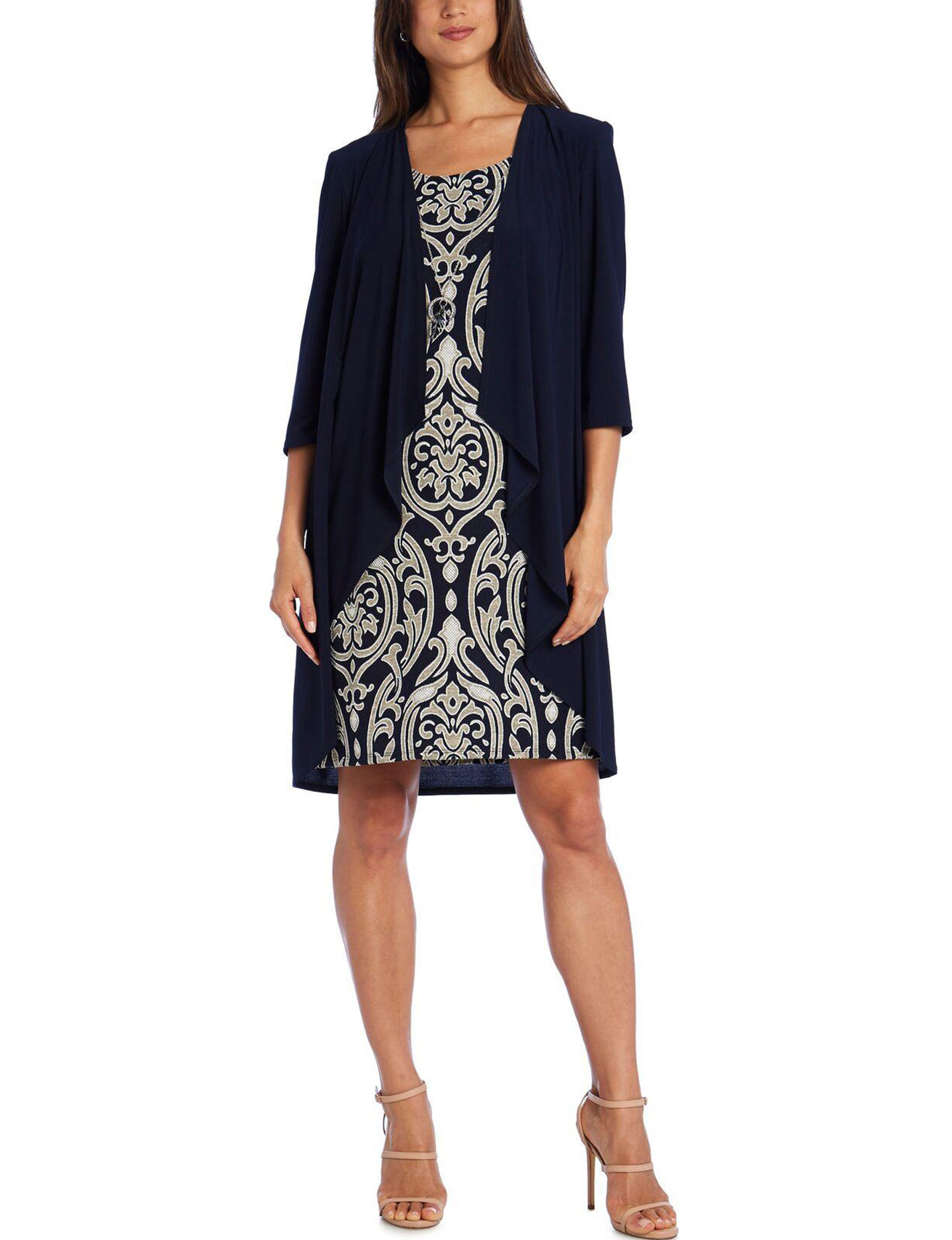 R & M Richards Navy / Taupe Evening & Formal Jacket Dresses
