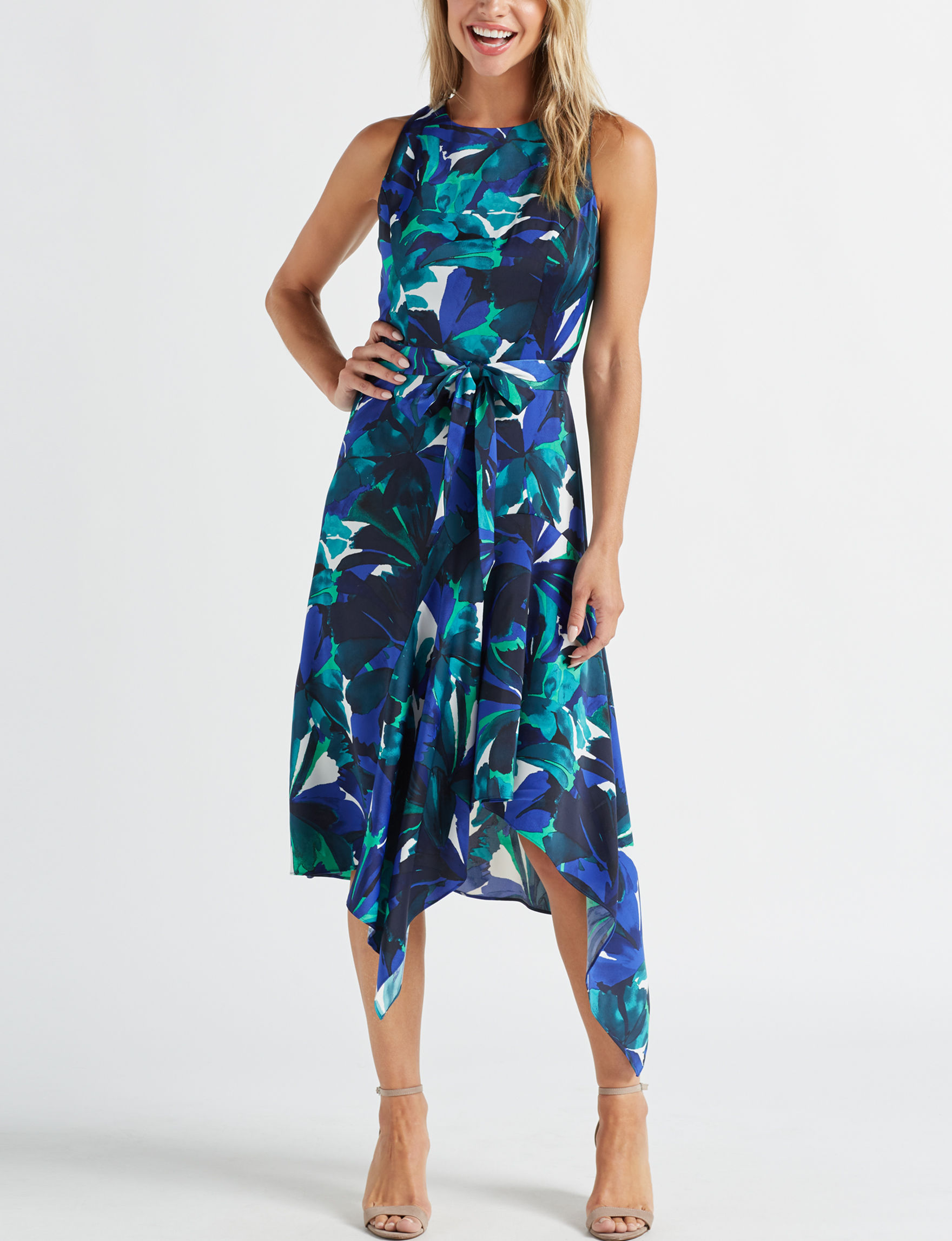 London Times Blue / Multi Everyday & Casual Fit & Flare Dresses