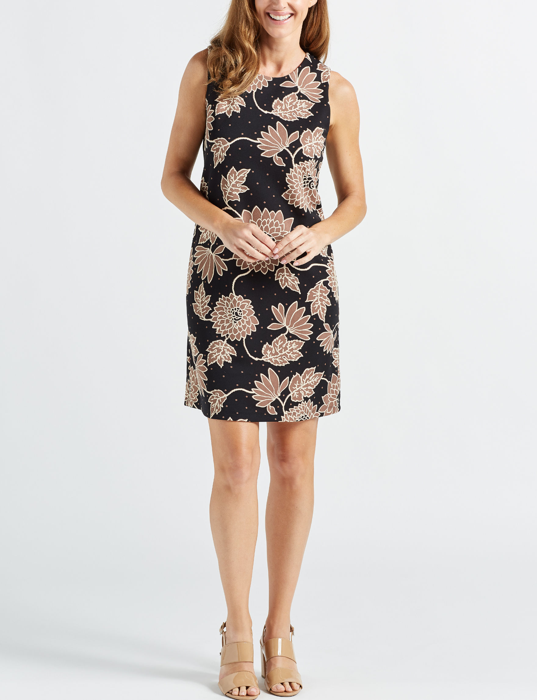 Ronni Nicole Black / Taupe Everyday & Casual Shift Dresses