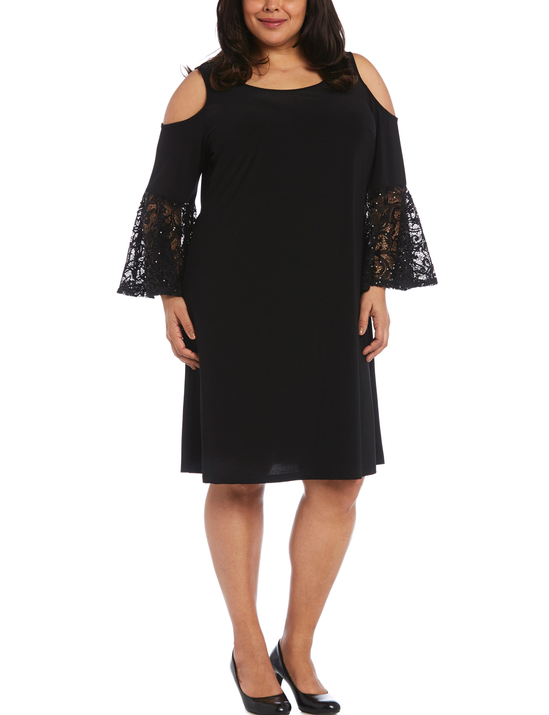 R & M Richards Black Cocktail & Party Evening & Formal A-line Dresses