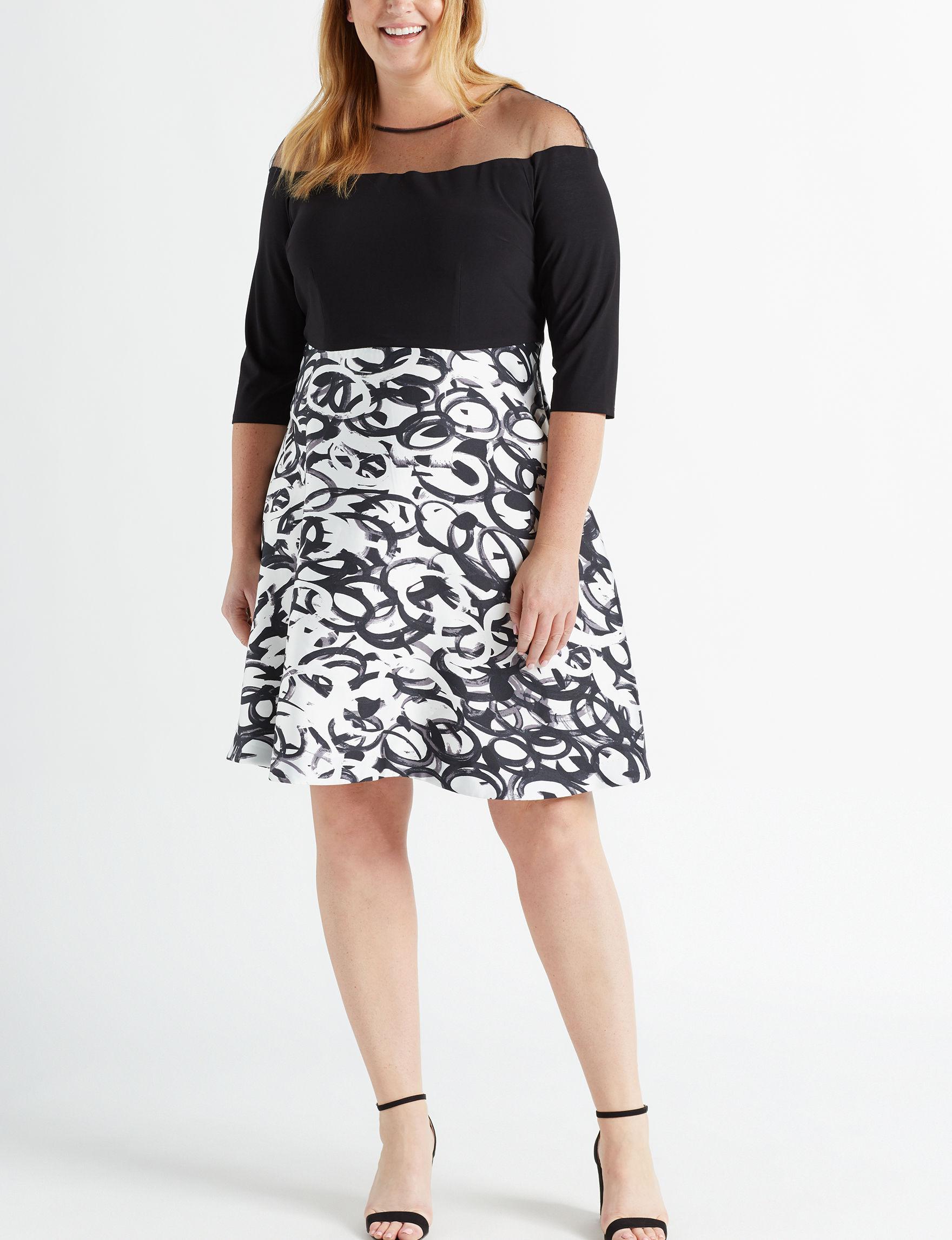 R & M Richards Black / White Cocktail & Party Evening & Formal A-line Dresses Fit & Flare Dresses