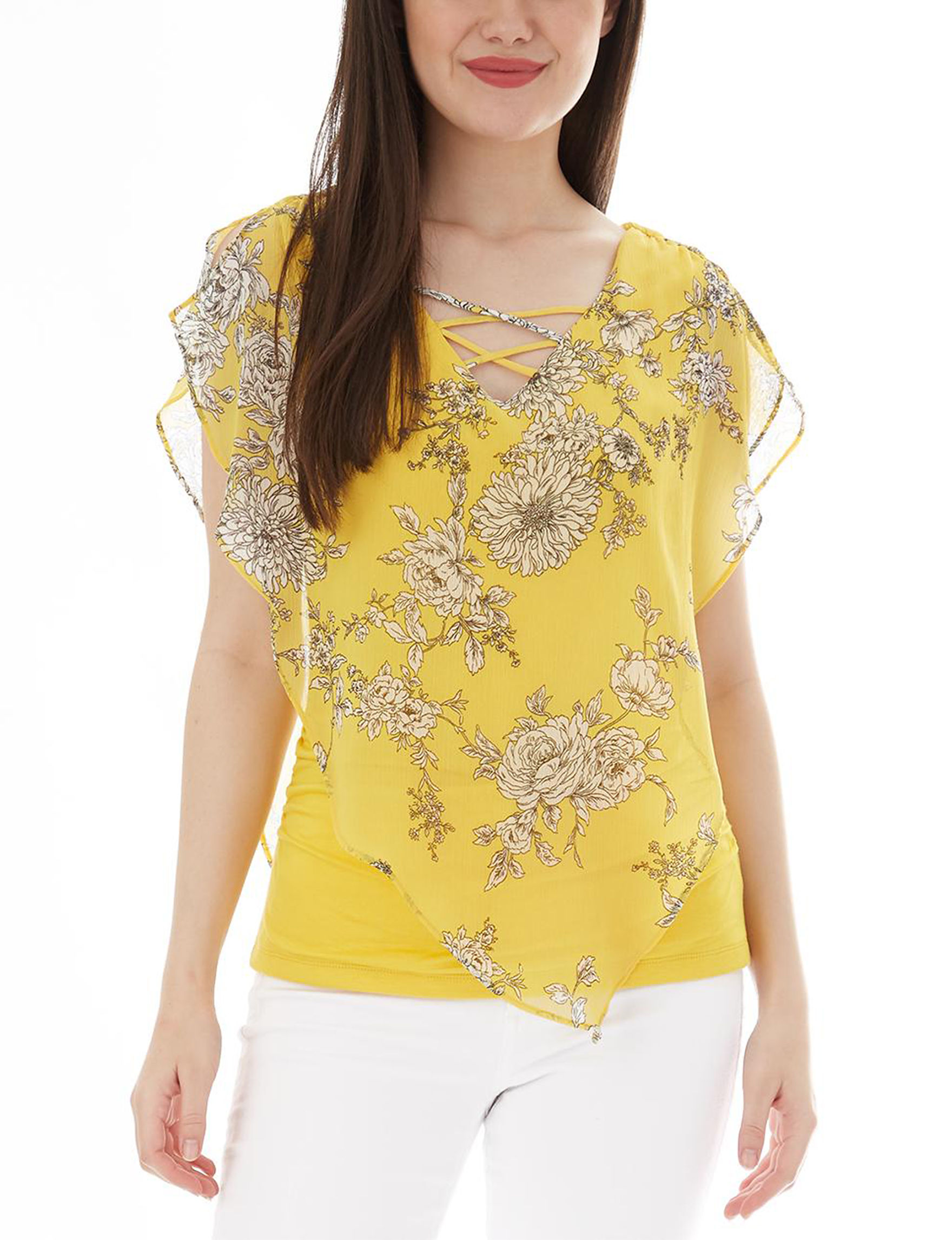 A. Byer Yellow Floral Shirts & Blouses
