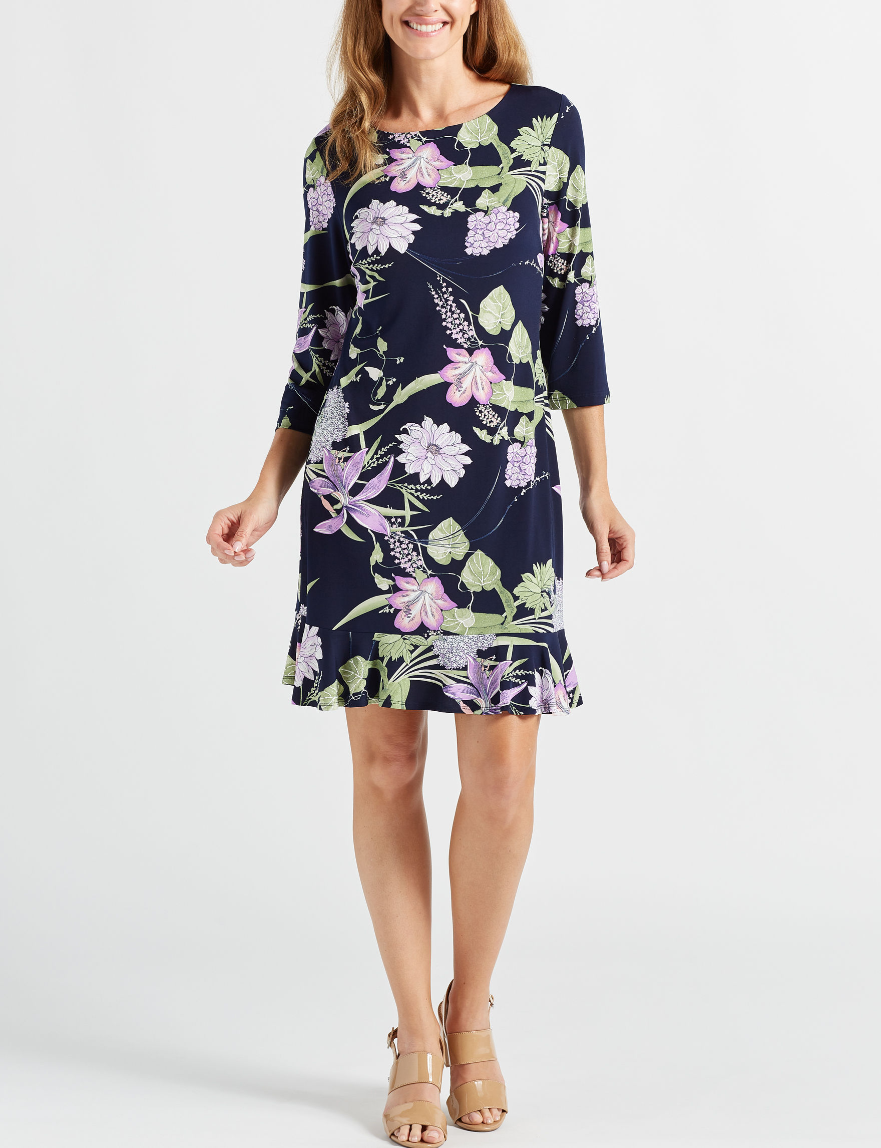 Sandra Darren Navy / Multi Everyday & Casual Shift Dresses