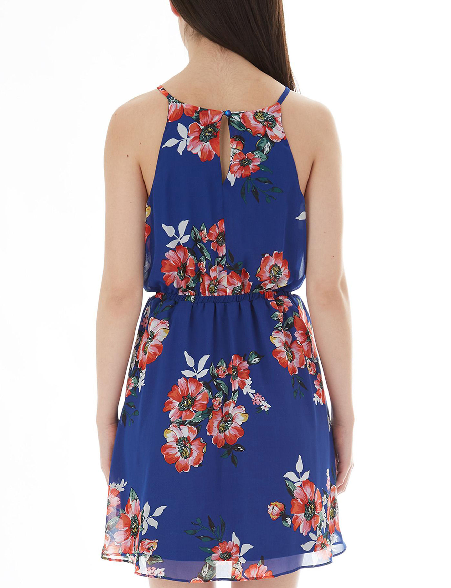 A. Byer Blue Everyday & Casual Fit & Flare Dresses Halter