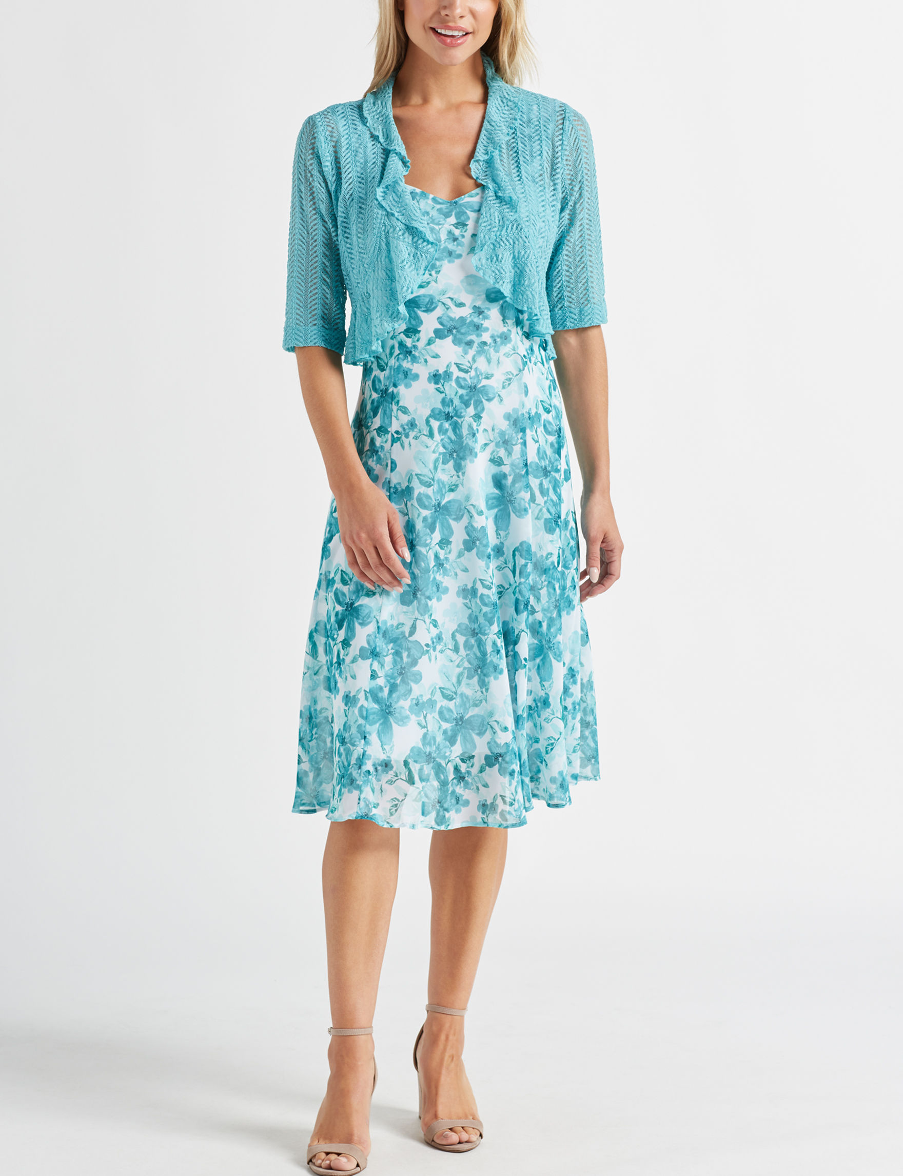 Connected Turquoise Floral Everyday & Casual Jacket Dresses