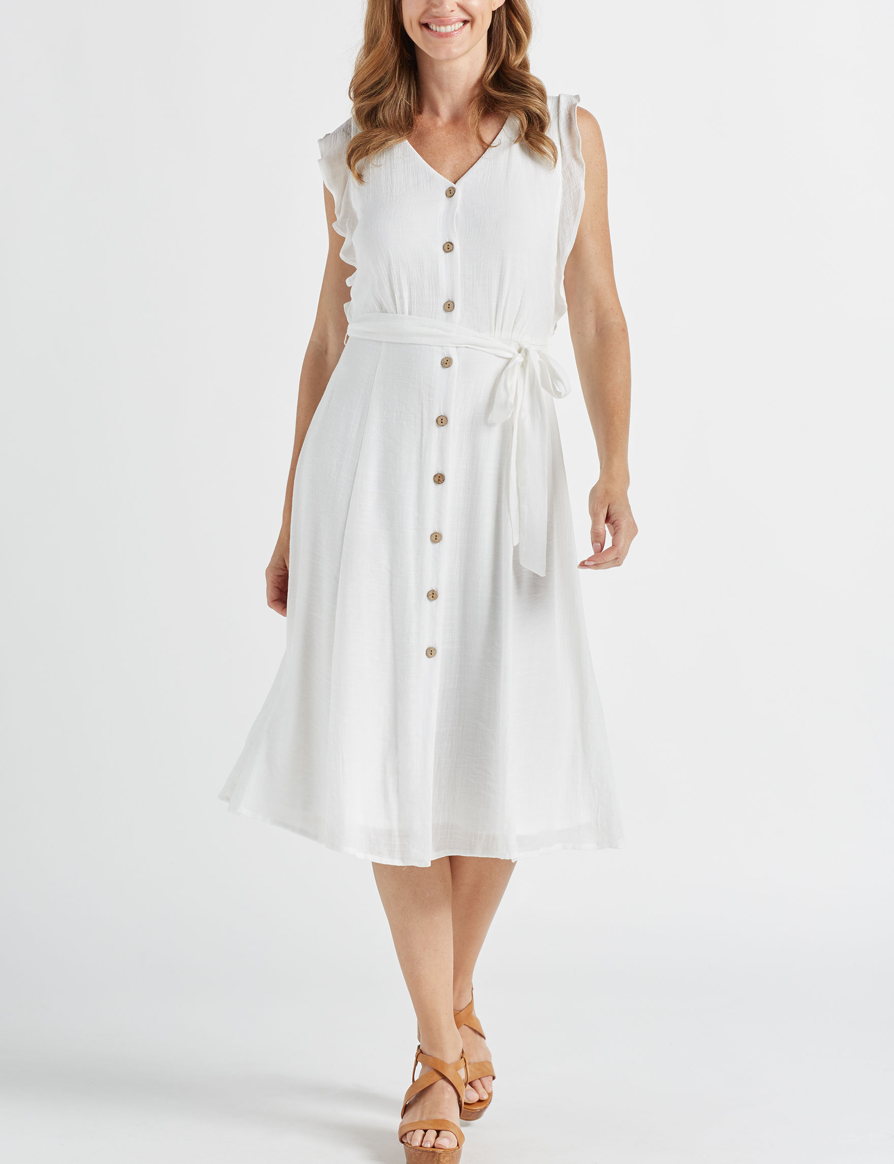 AGB White Everyday & Casual Shirt Dresses