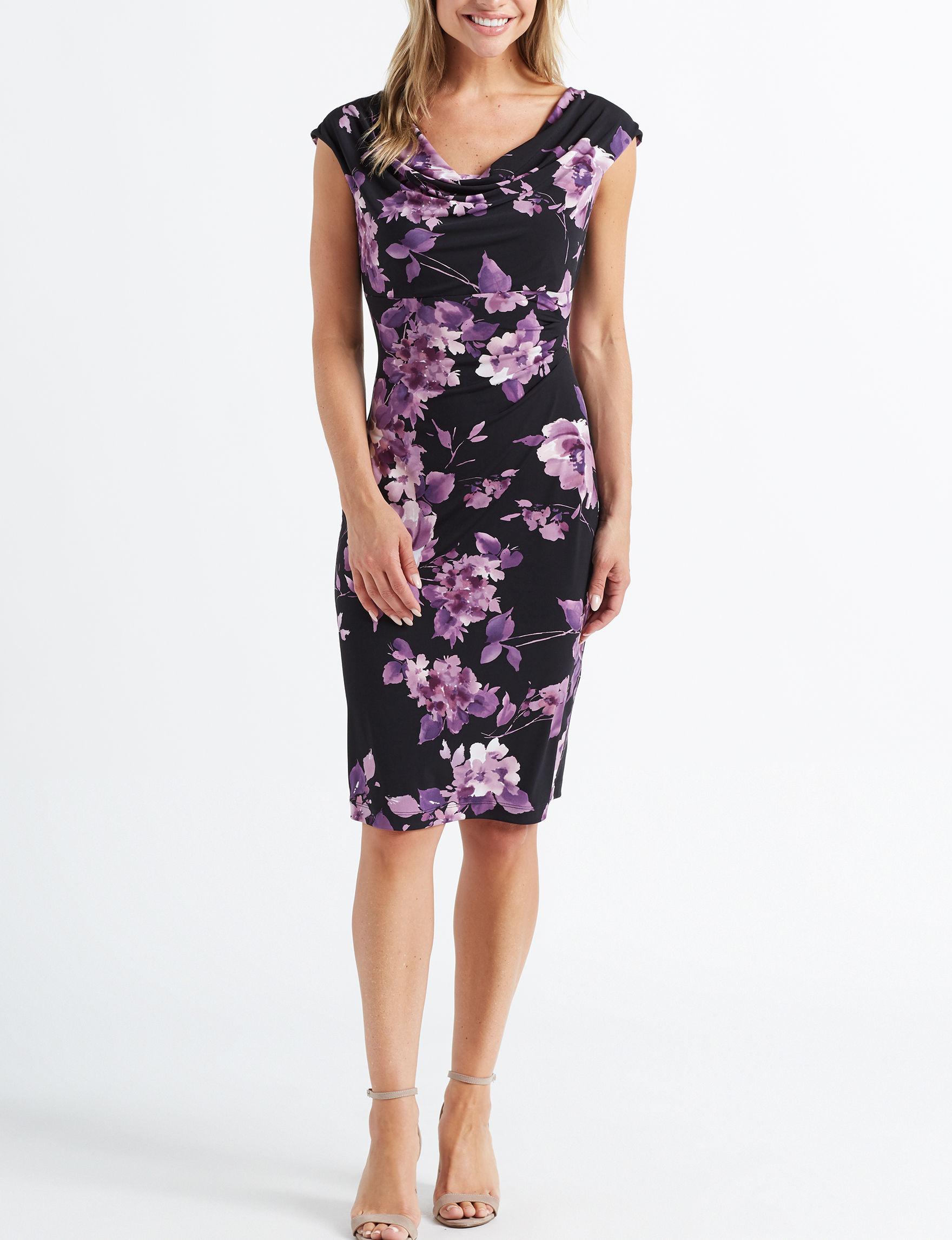 Connected Purple Floral Scuba Dresses