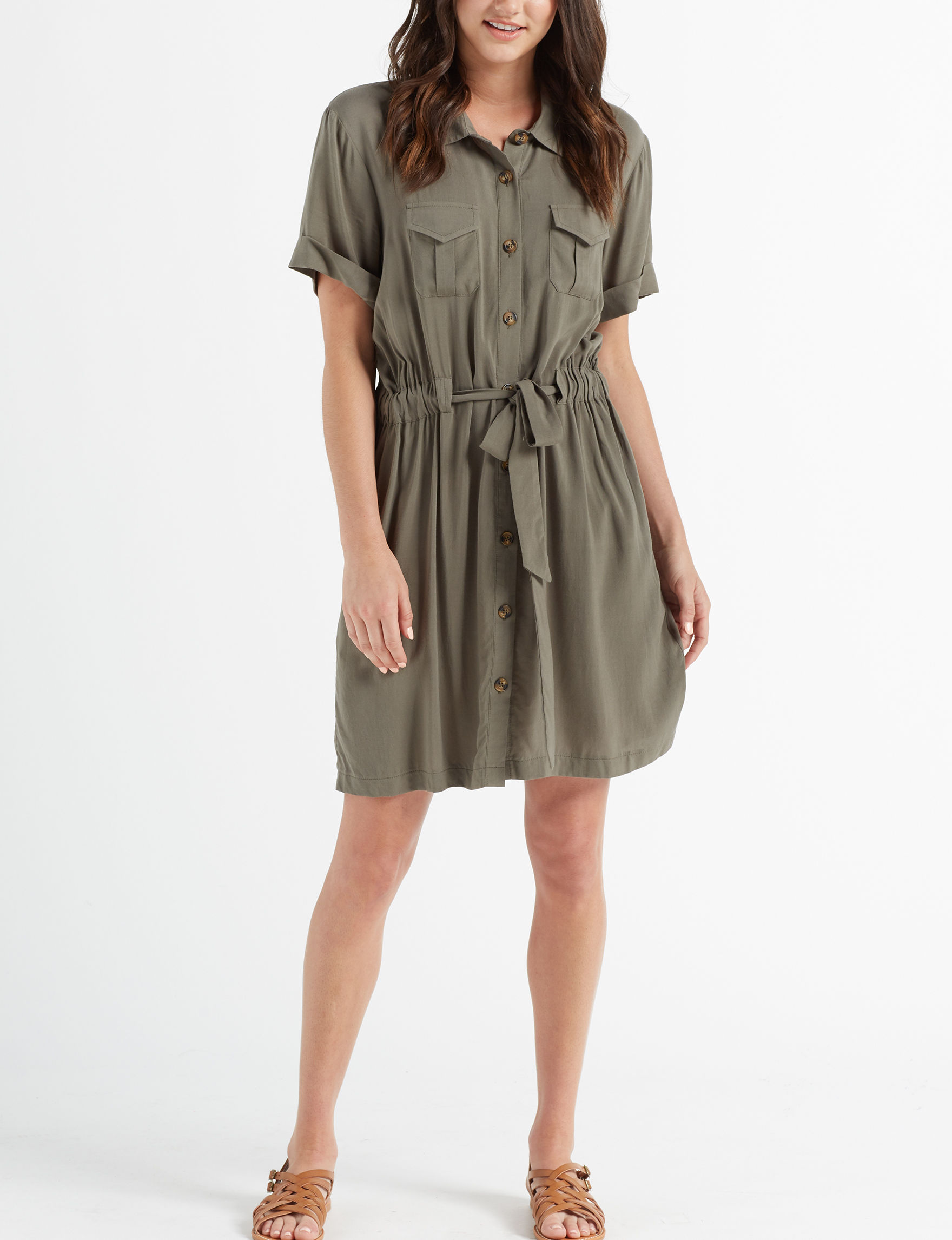 Wishful Park Olive Everyday & Casual Shirt Dresses
