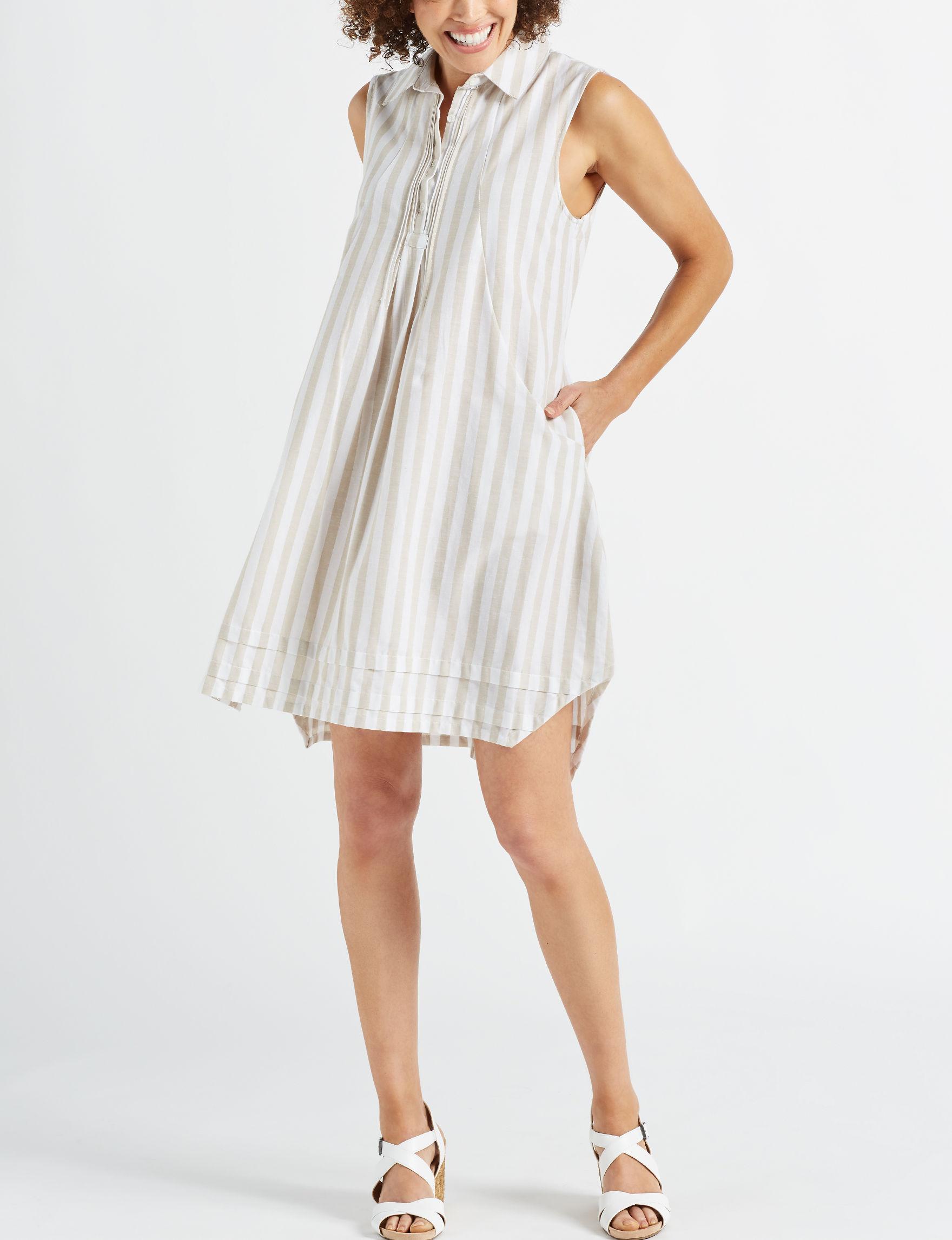 Hope & Harlow Beige Everyday & Casual Shirt Dresses