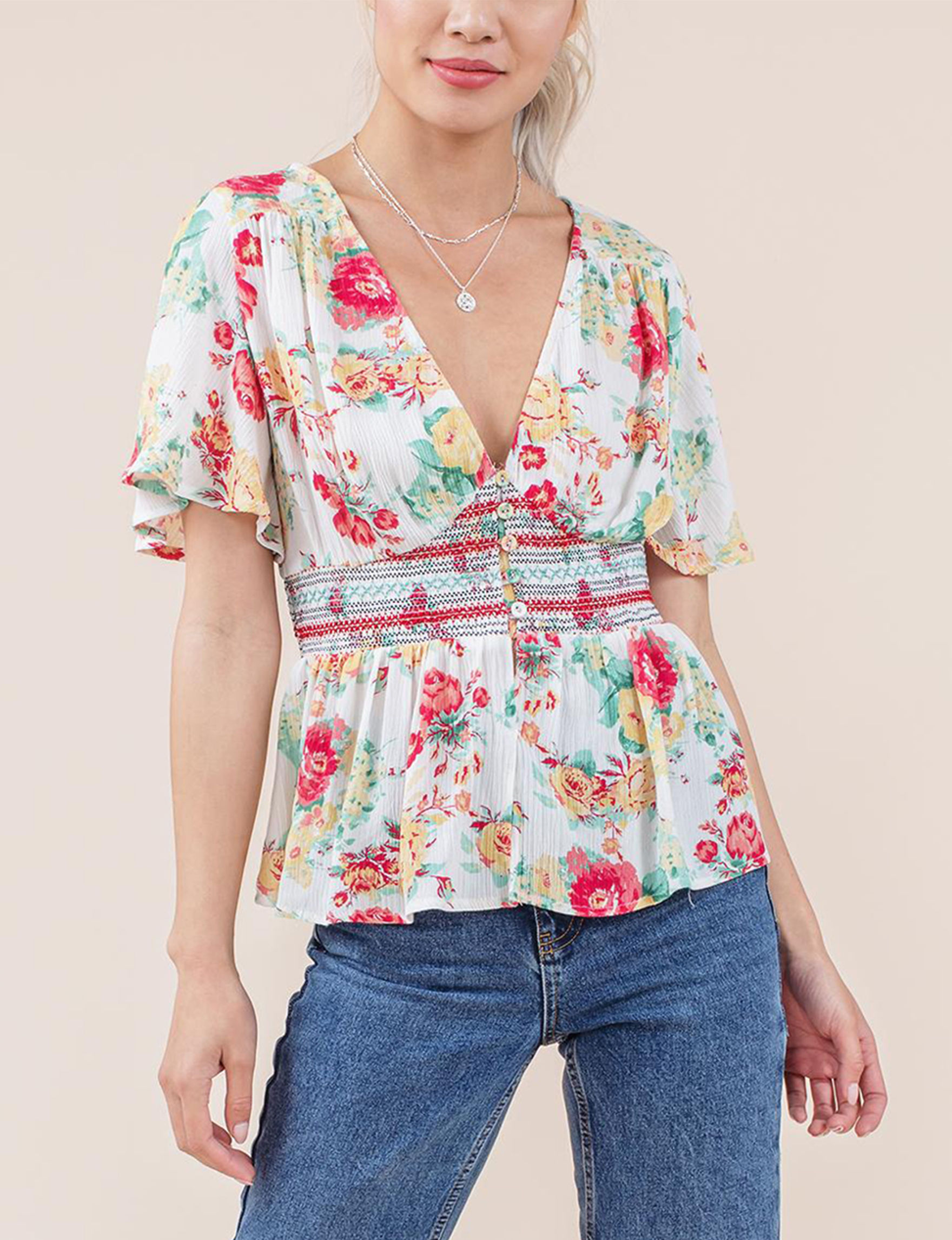 C + J Collections Ivory Floral Shirts & Blouses