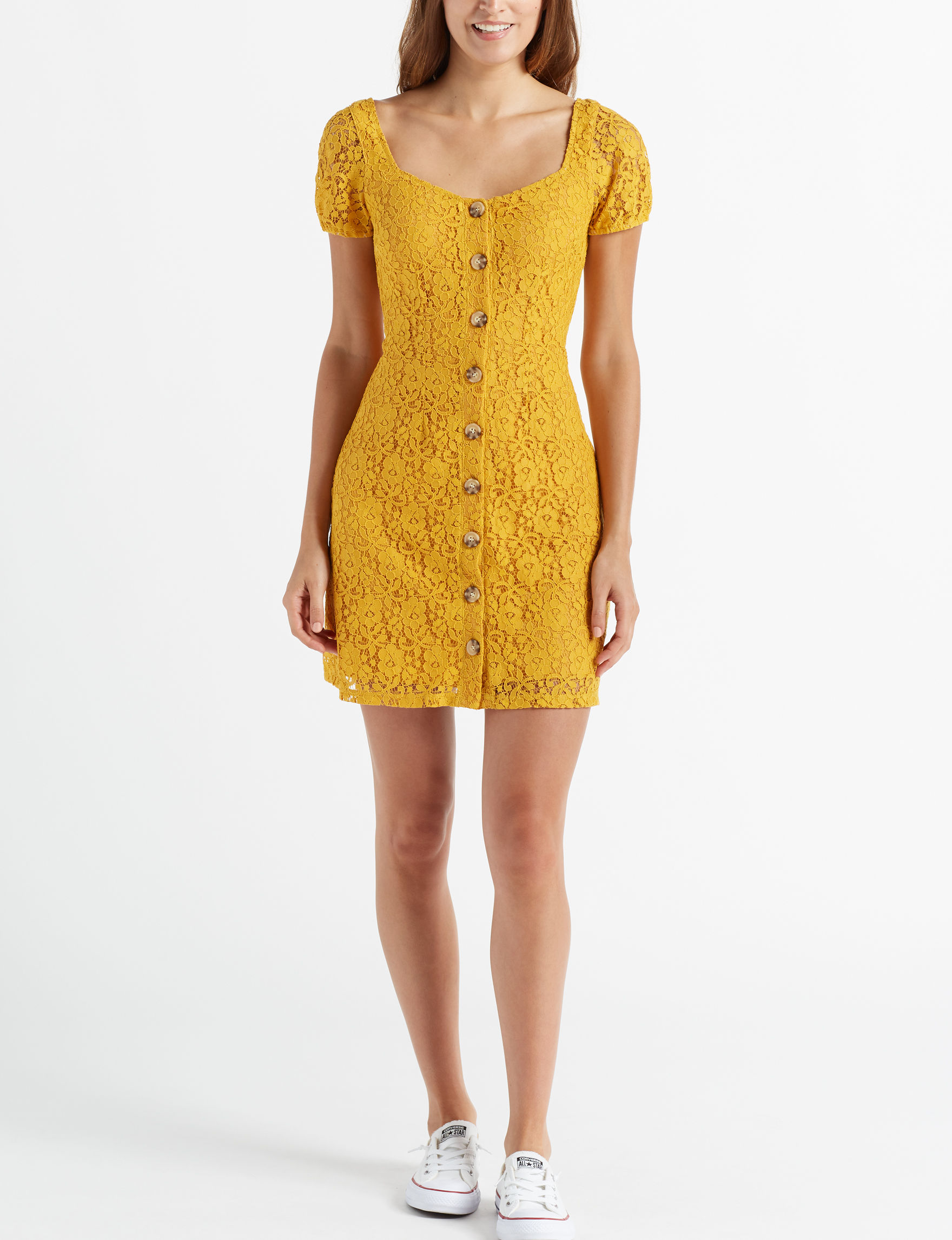 Trixxi Mustard Everyday & Casual Bodycon Dresses